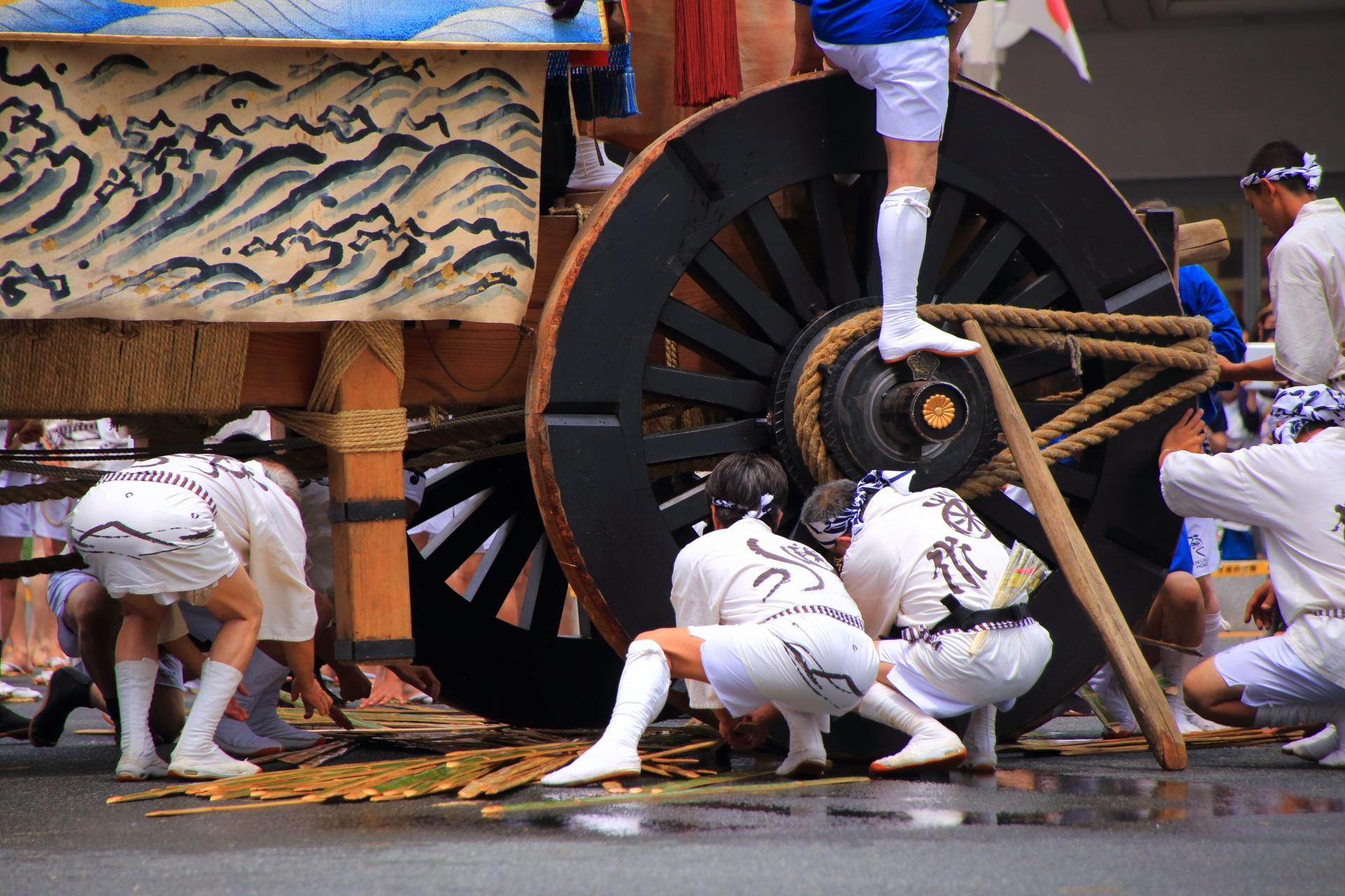 菊水鉾の辻回しの準備の車輪