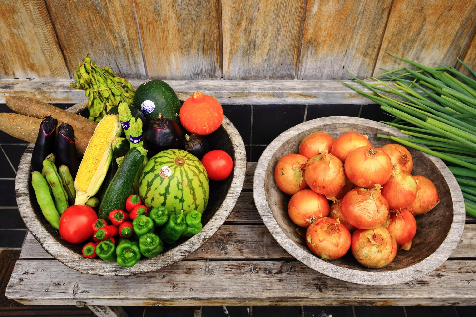 和食の葱や平吉 高瀬川店の店頭のネギと野菜