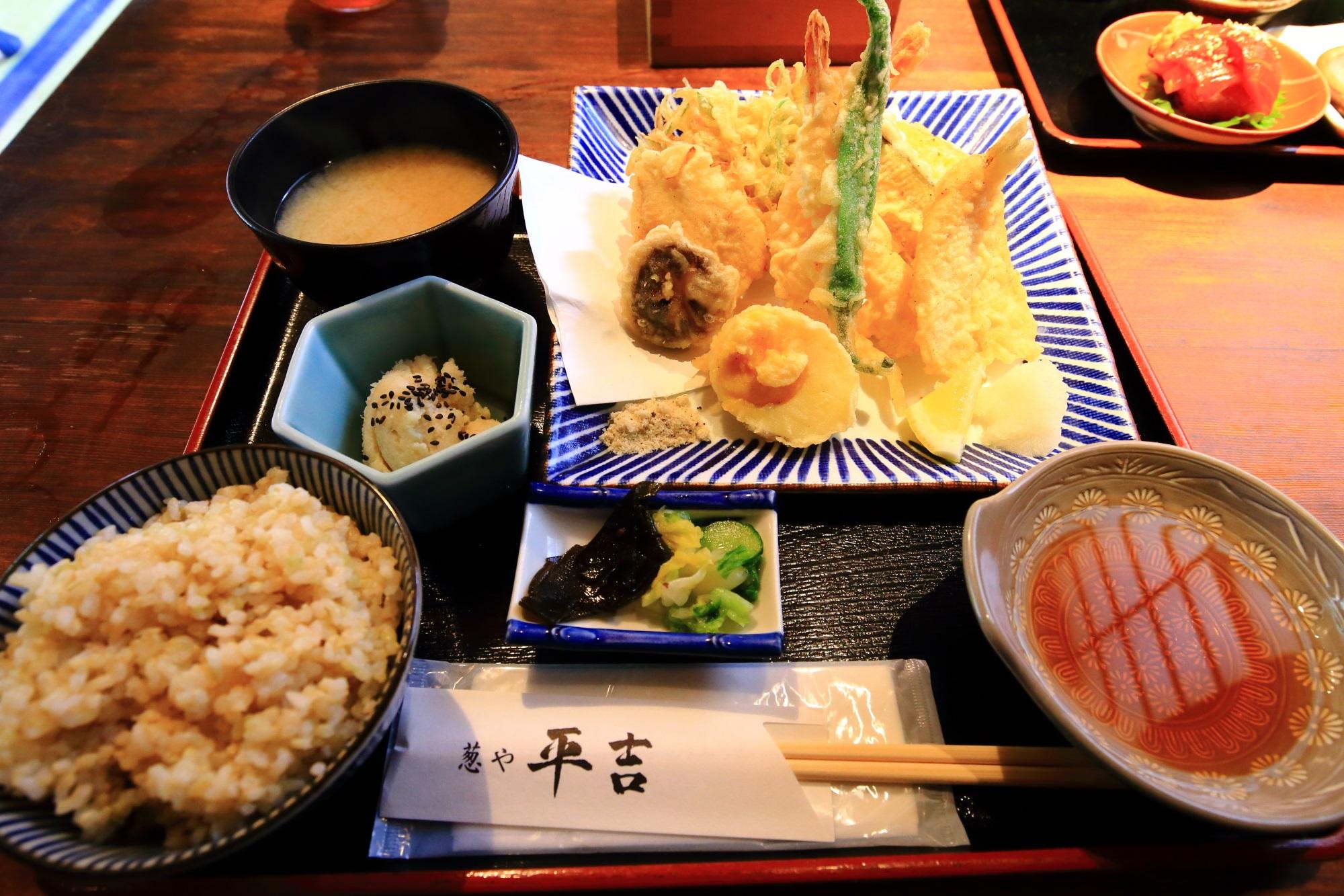 葱や天ぷら定食(税込1,296円) 葱や平吉 高瀬川店