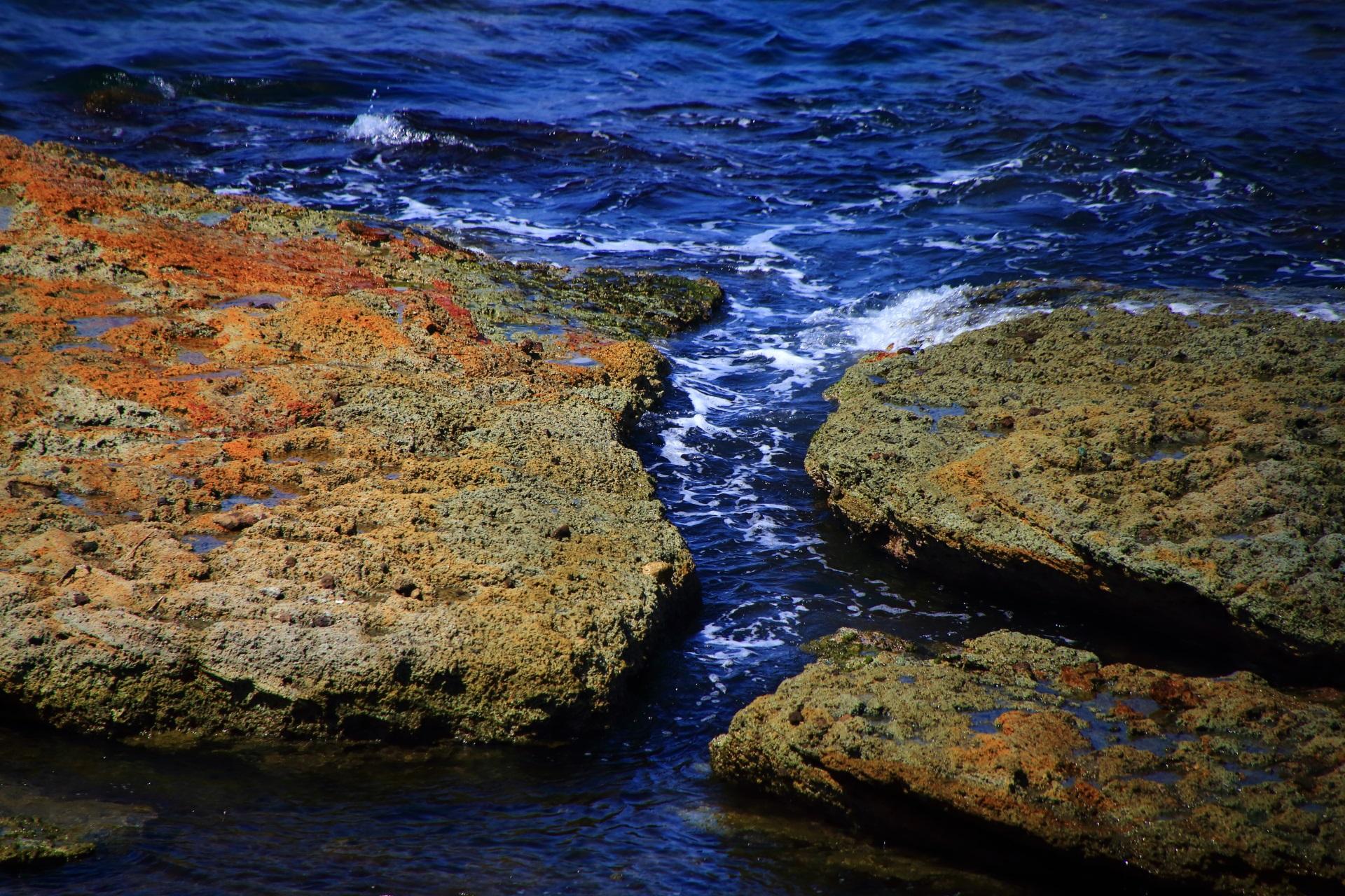 岩の表面がいろんな色をしている五色浜の岩場