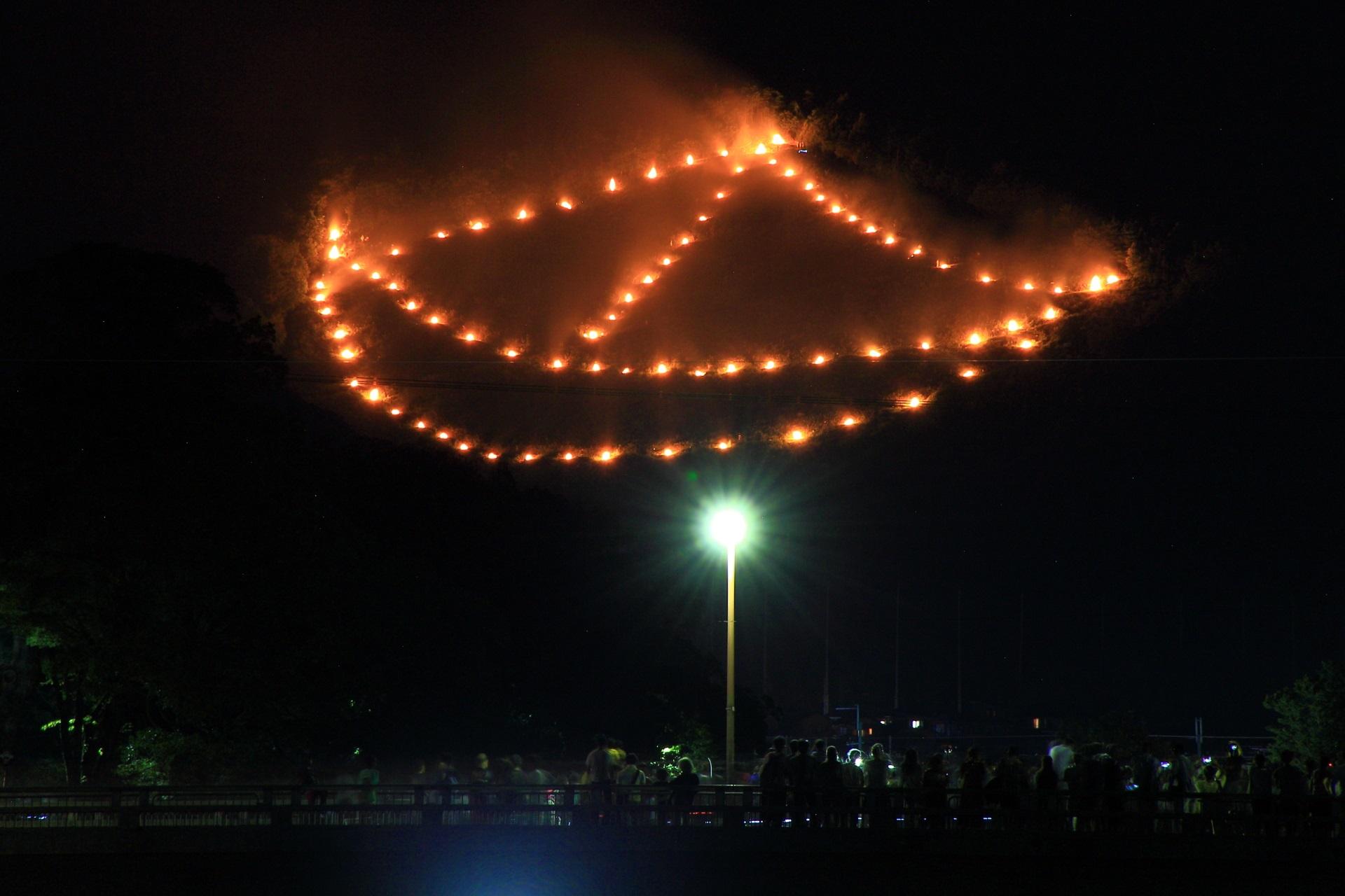 五山の送り火の舟形と見上げる人々