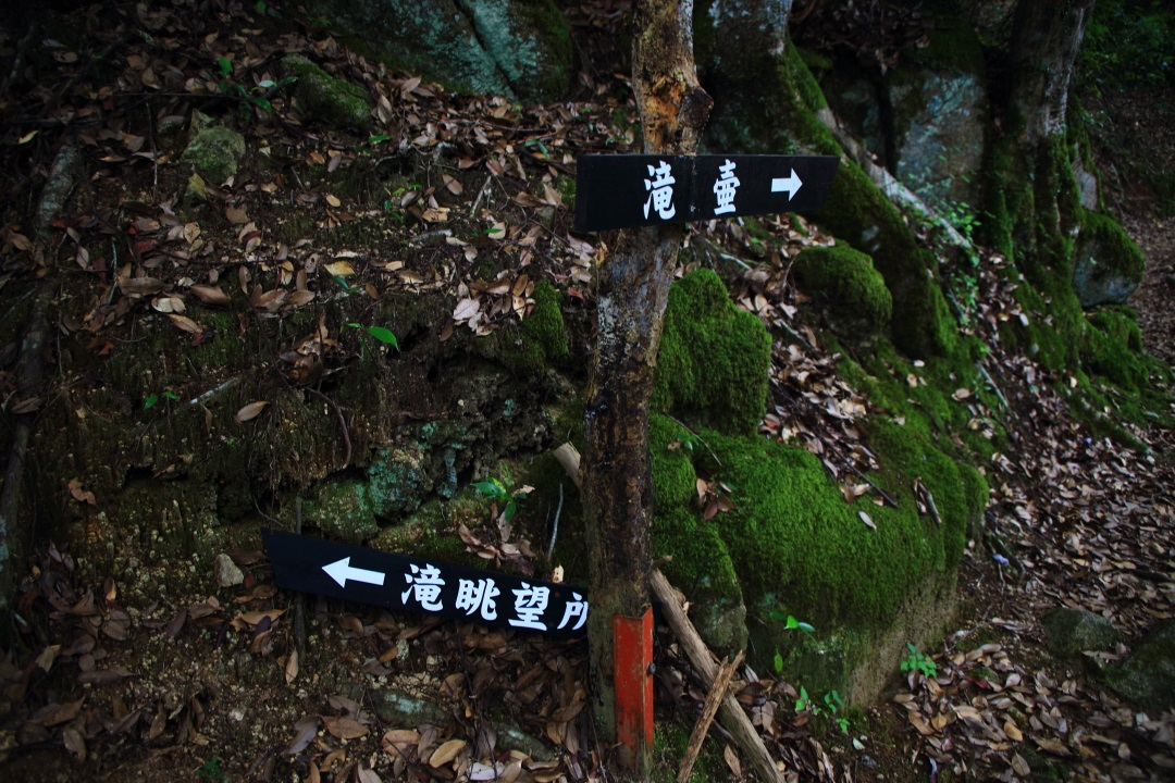 今福の滝の滝壺と眺望所の道しるべ