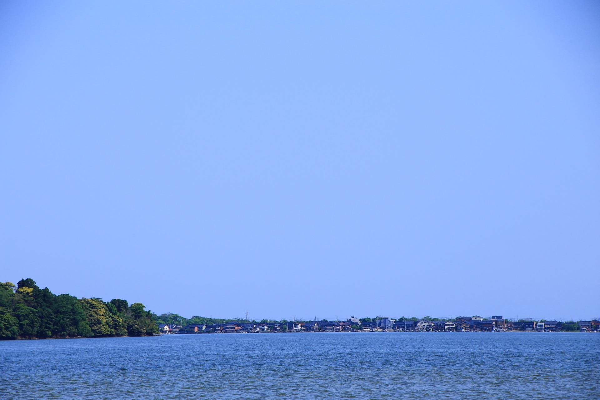 久美浜湾北側の小天橋方面に建ち並ぶ海の家