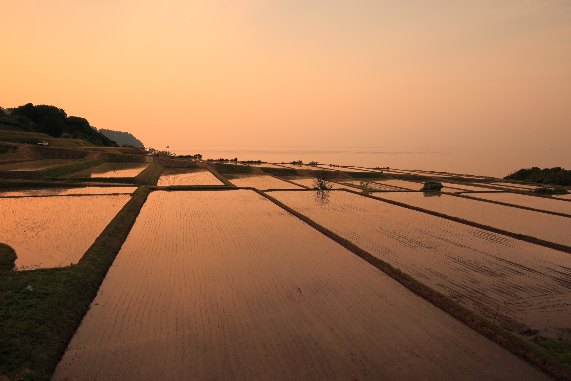 新井の棚田の素晴らしい夕焼けと情景