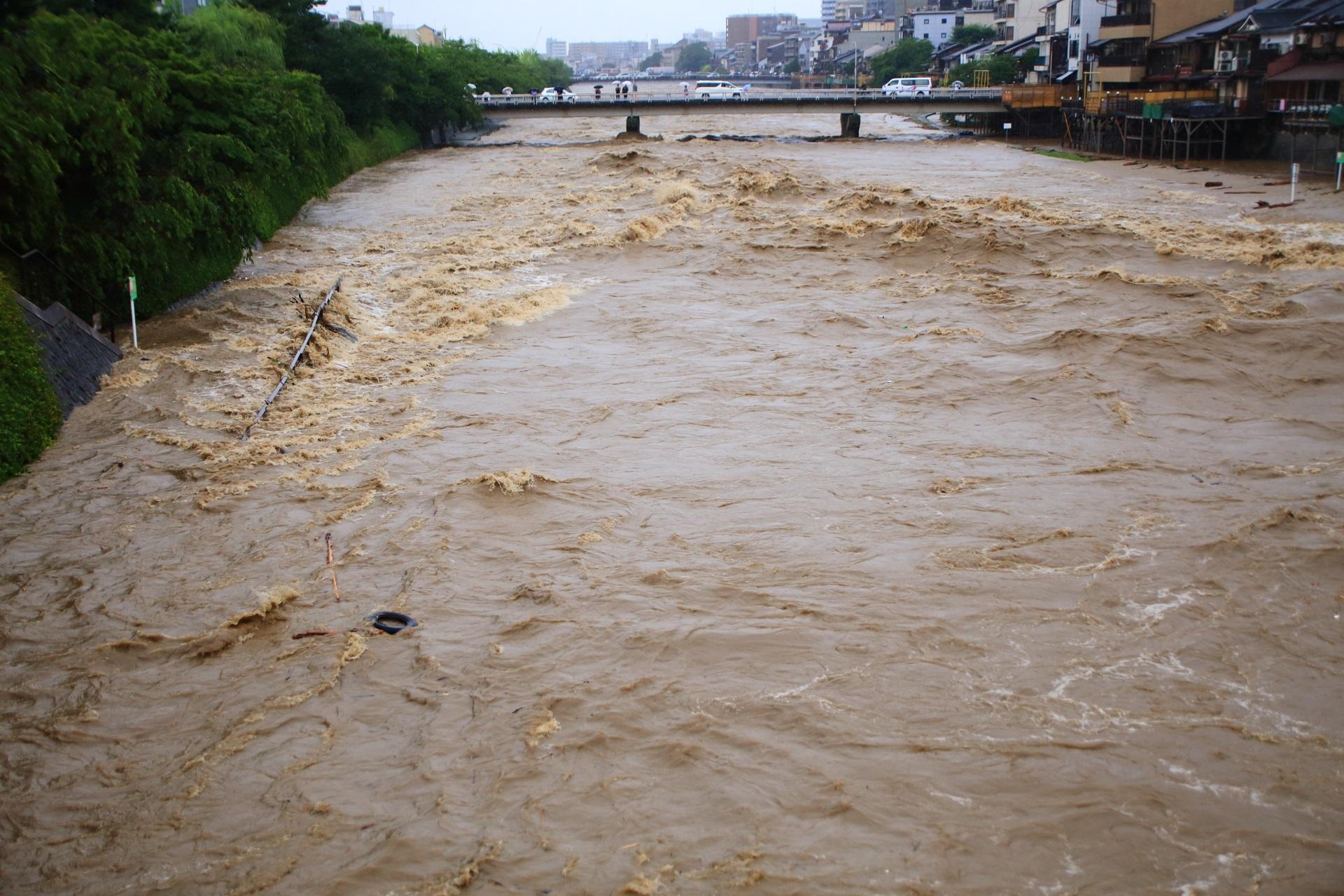 四条大橋の下を勢いよく流れていく鴨川の激流