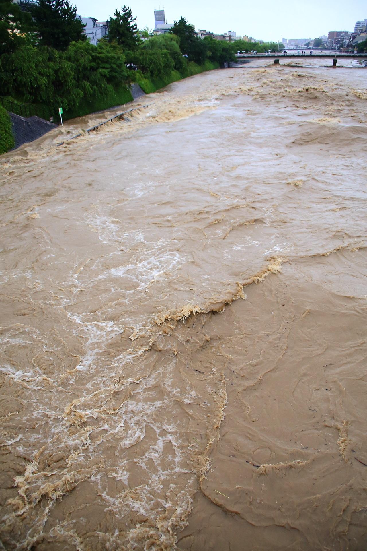 下流へと勢いよく流れていく物凄い量の濁った水