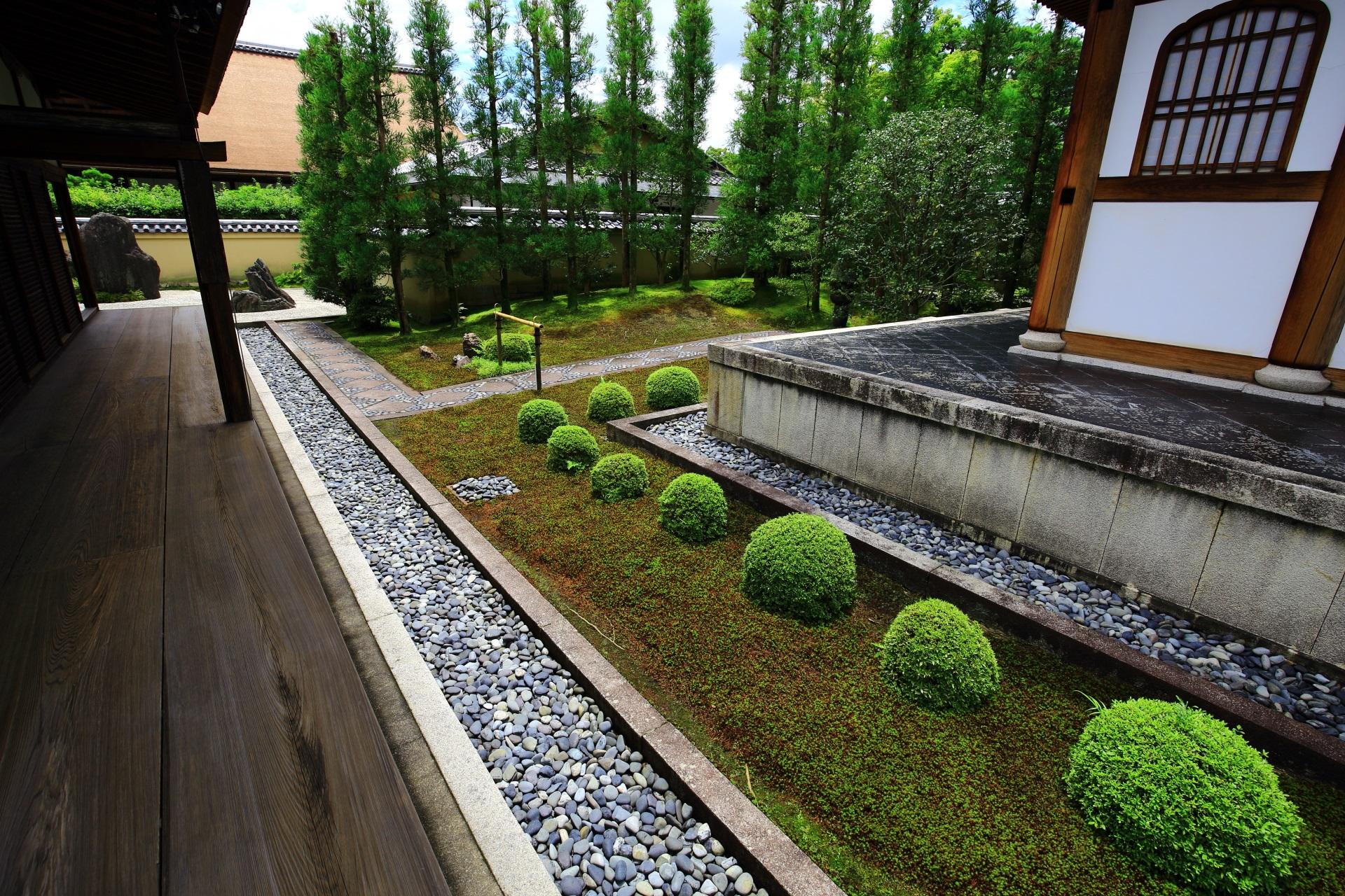 鮮やかな緑の刈り込みが彩りをそえる龍源院の開祖堂
