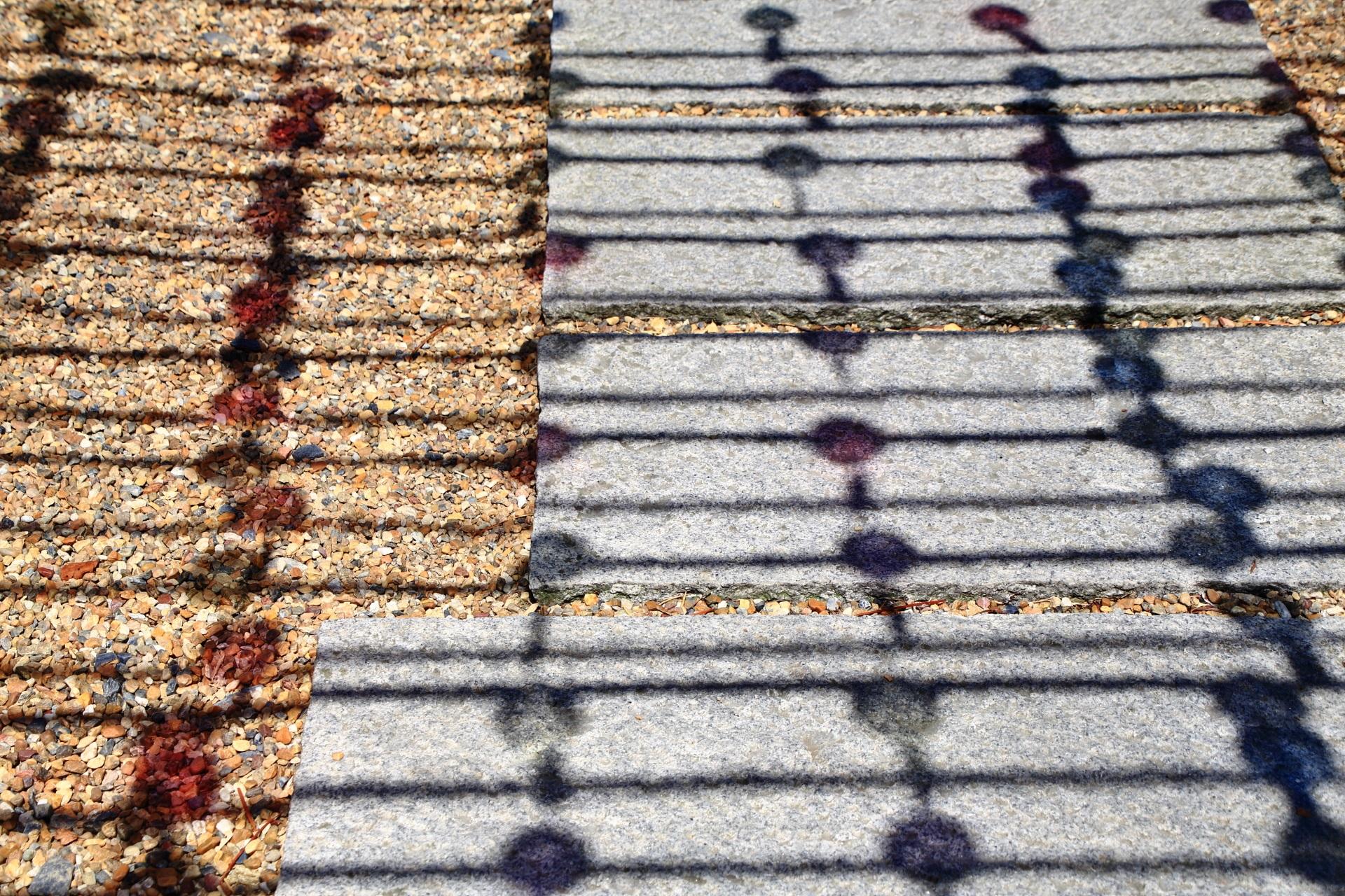 正寿院の赤や青に色づく風鈴の影
