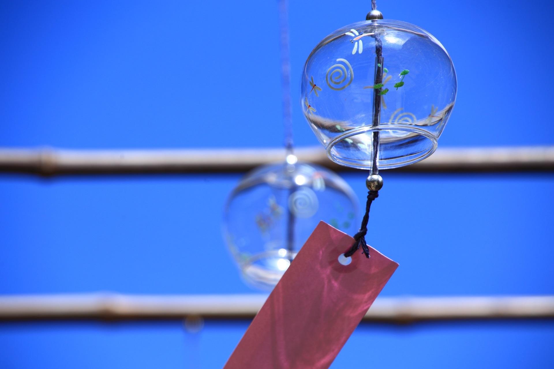 青空の下で揺れる正寿院のトンボの風鈴