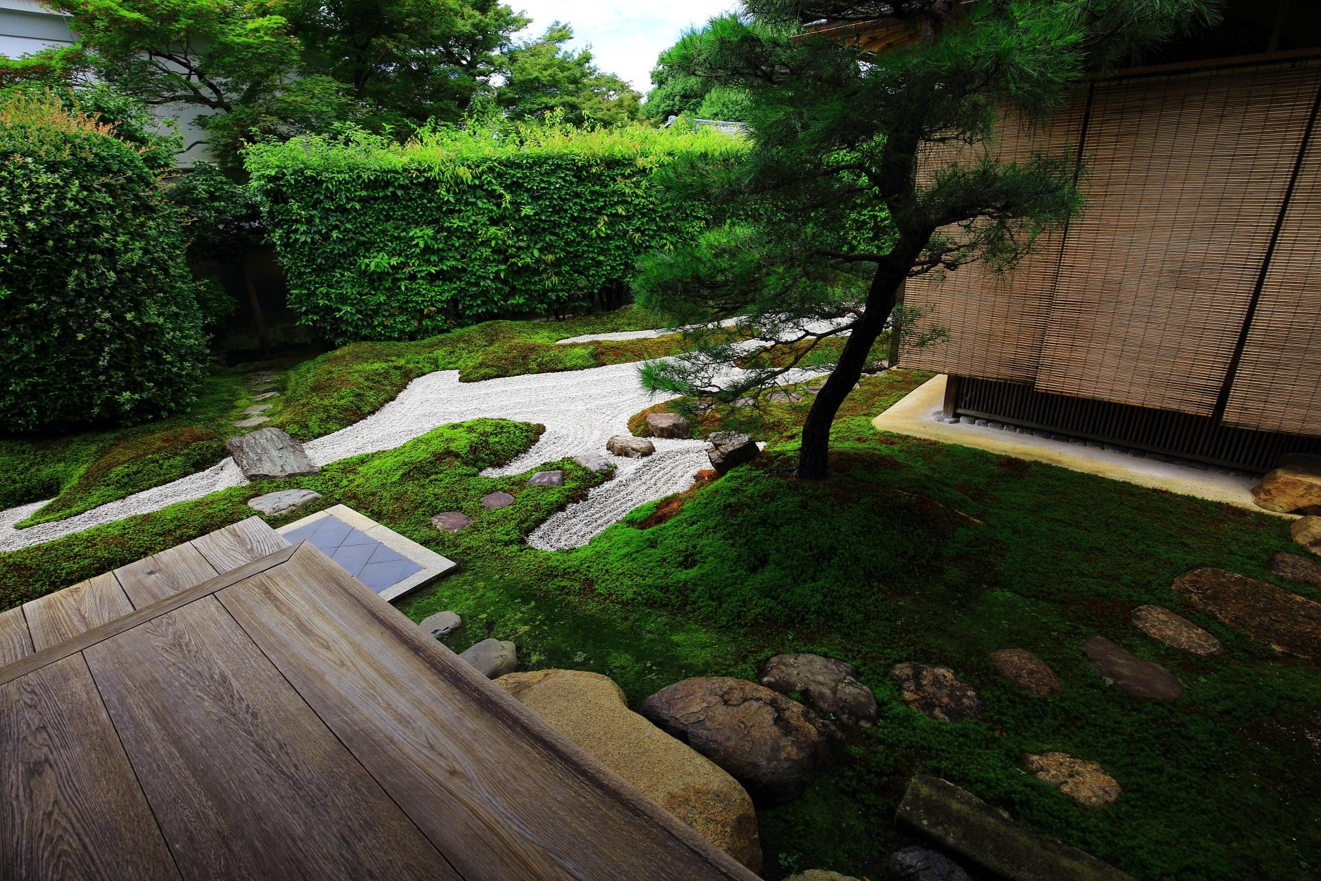 柔らかな緑の苔につつまれ飛び石が配される独坐庭の西側