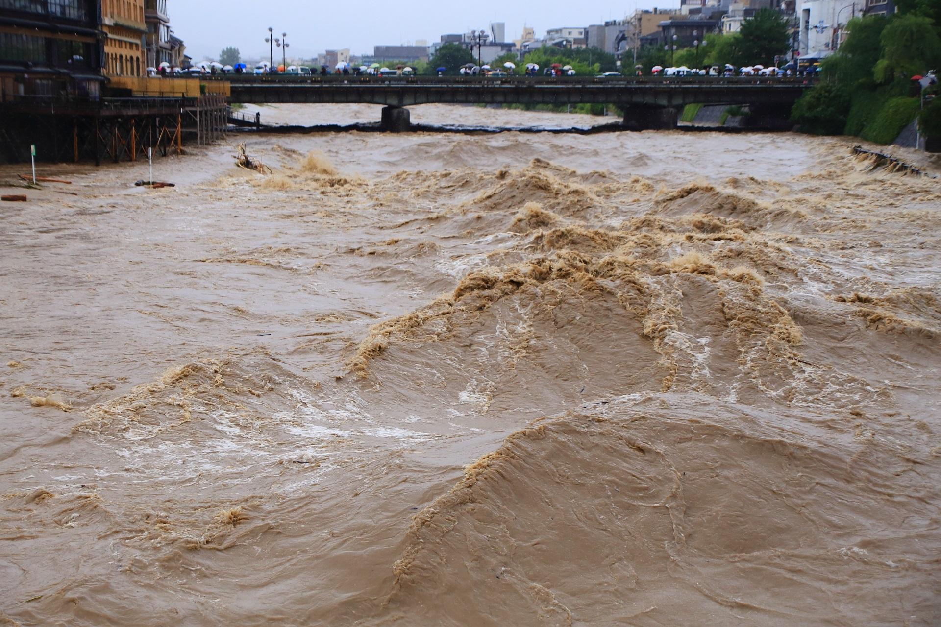 音を立てて波打つ鴨川の濁流