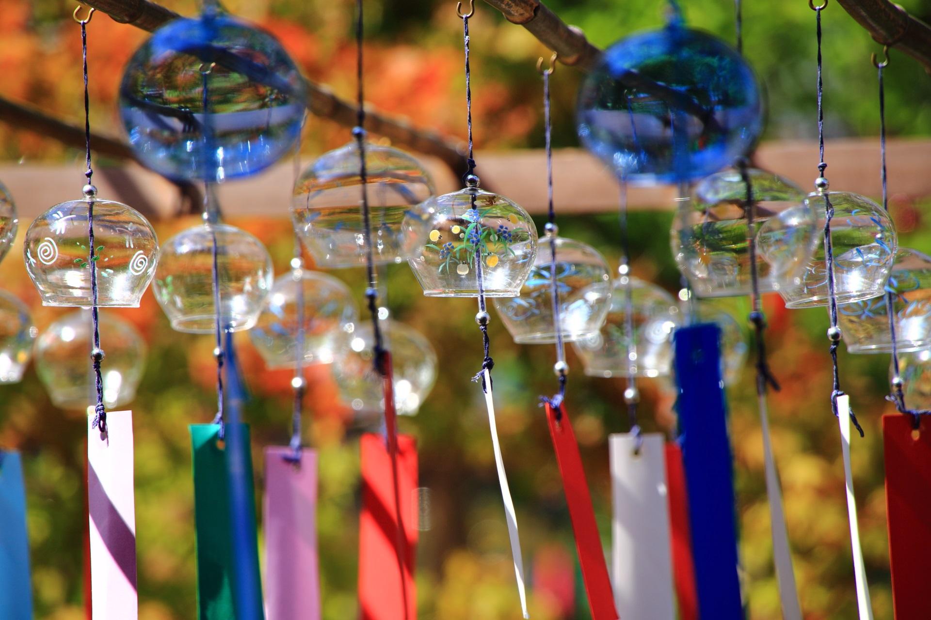 正寿院の夏の境内を華やぐ様々な種類のたくさんの風鈴