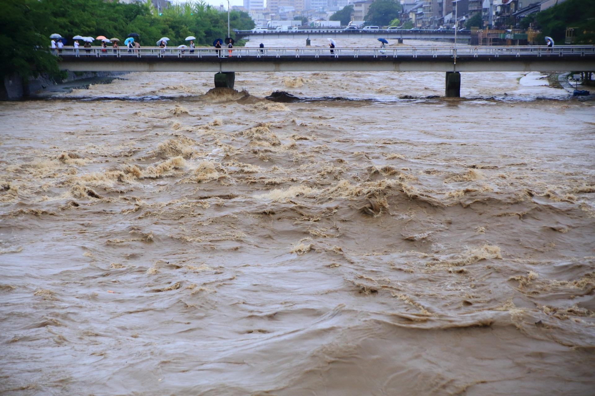 団栗大橋に襲い掛かる鴨川の激流