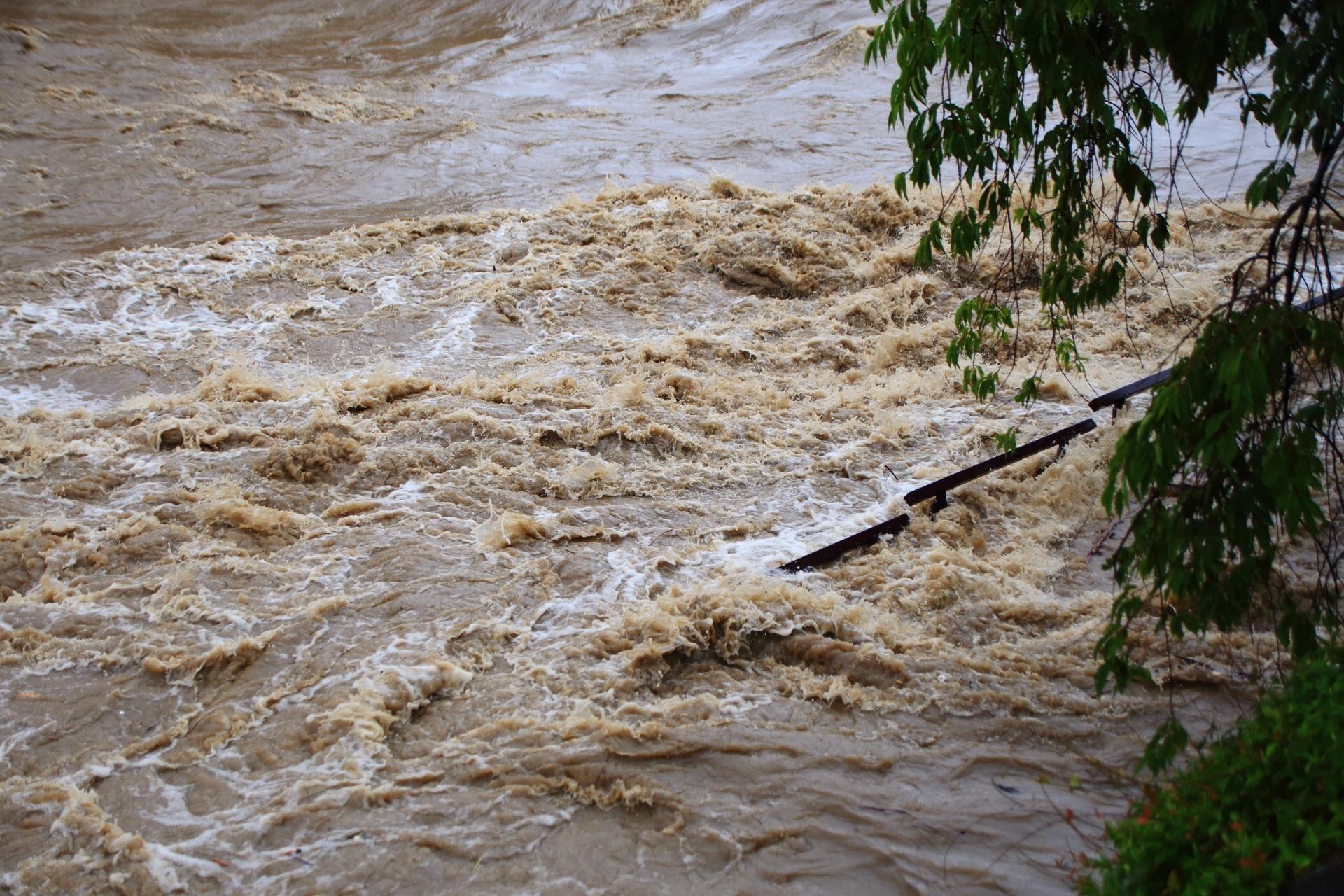 完全に水没して激流に飲まれる鴨川河川敷の歩道