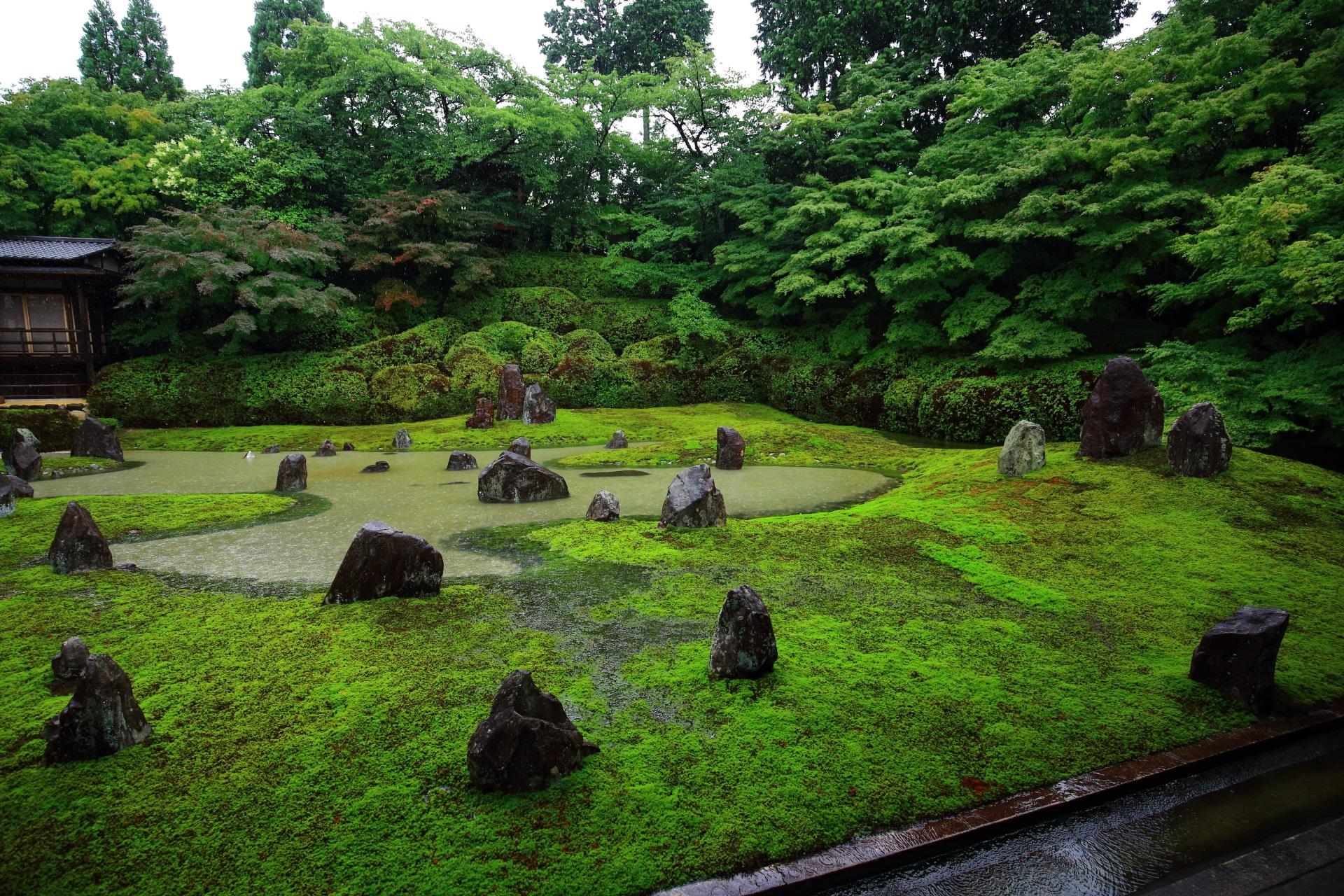 大雨の時にだけ楽しめる池の波心庭