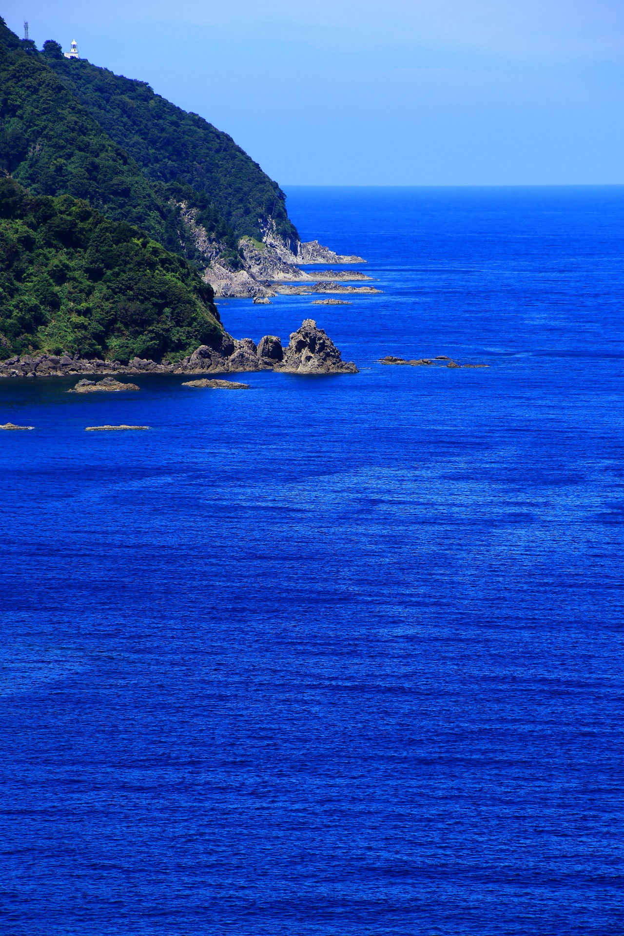 The blue sea and the blue sky of the Kamaya-kaigan coast in Kyoto