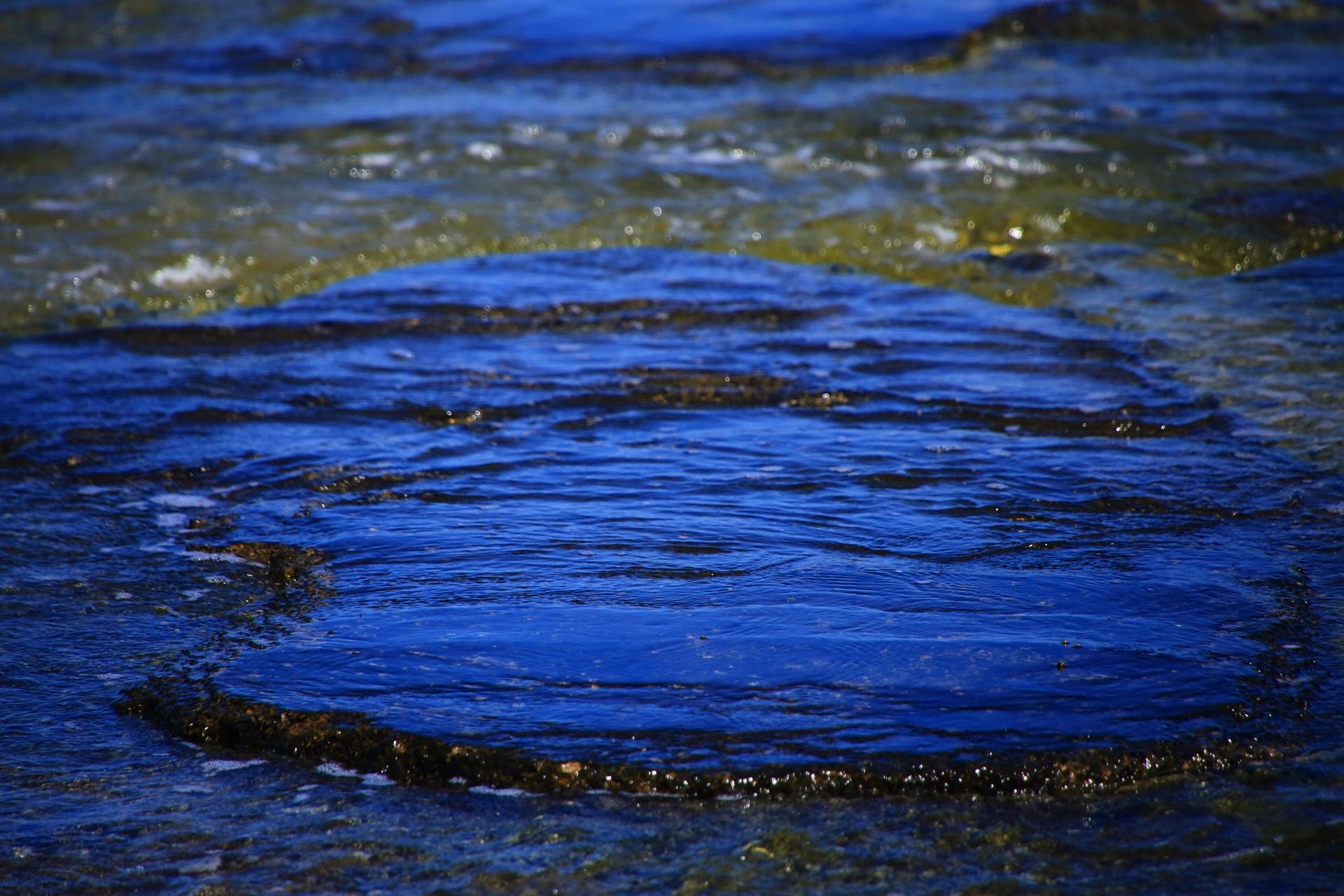 海水につつまれた五色浜の田尻の岩の表面