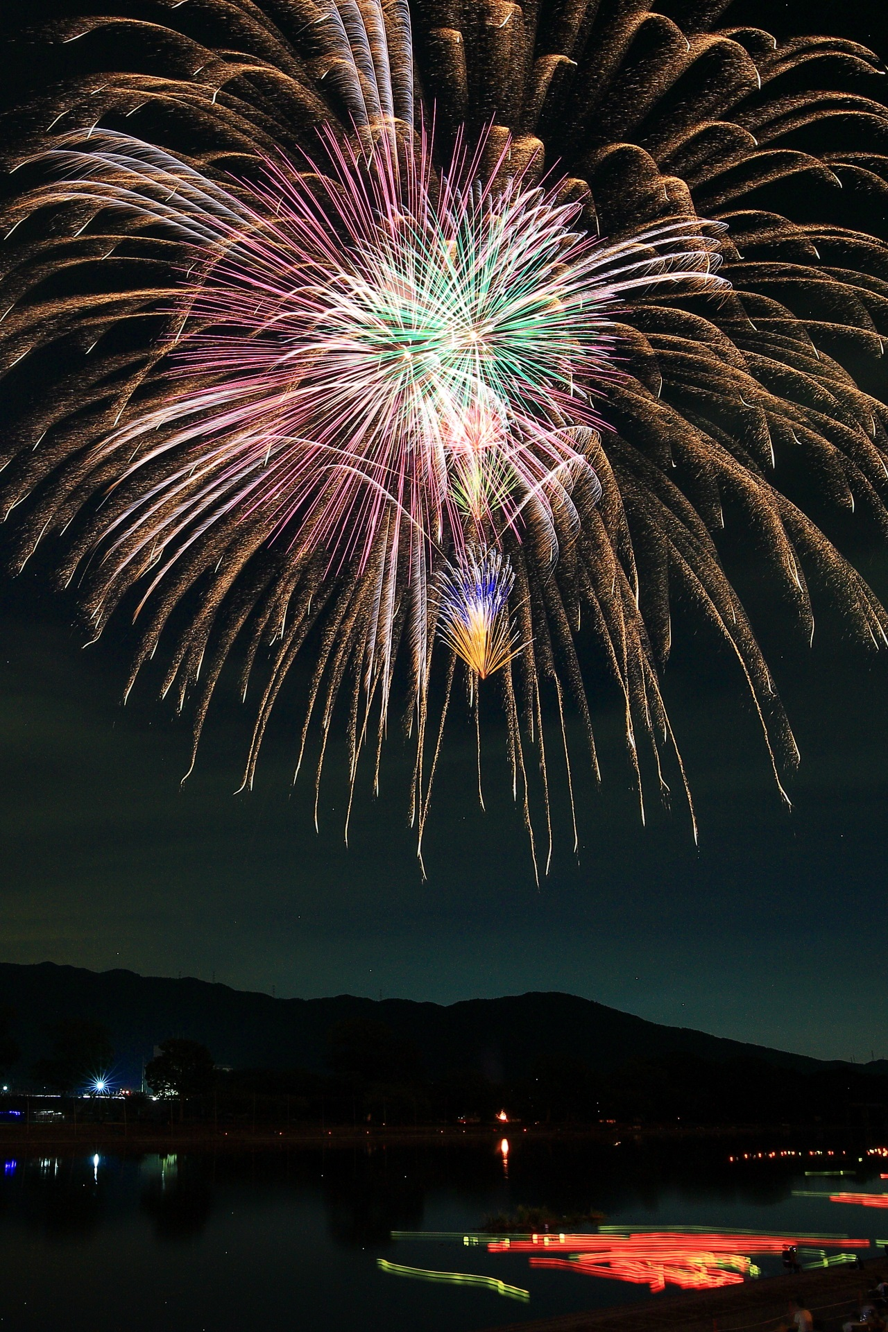 夜空を照らしながら落ちて行く南丹市金色の花火の枝
