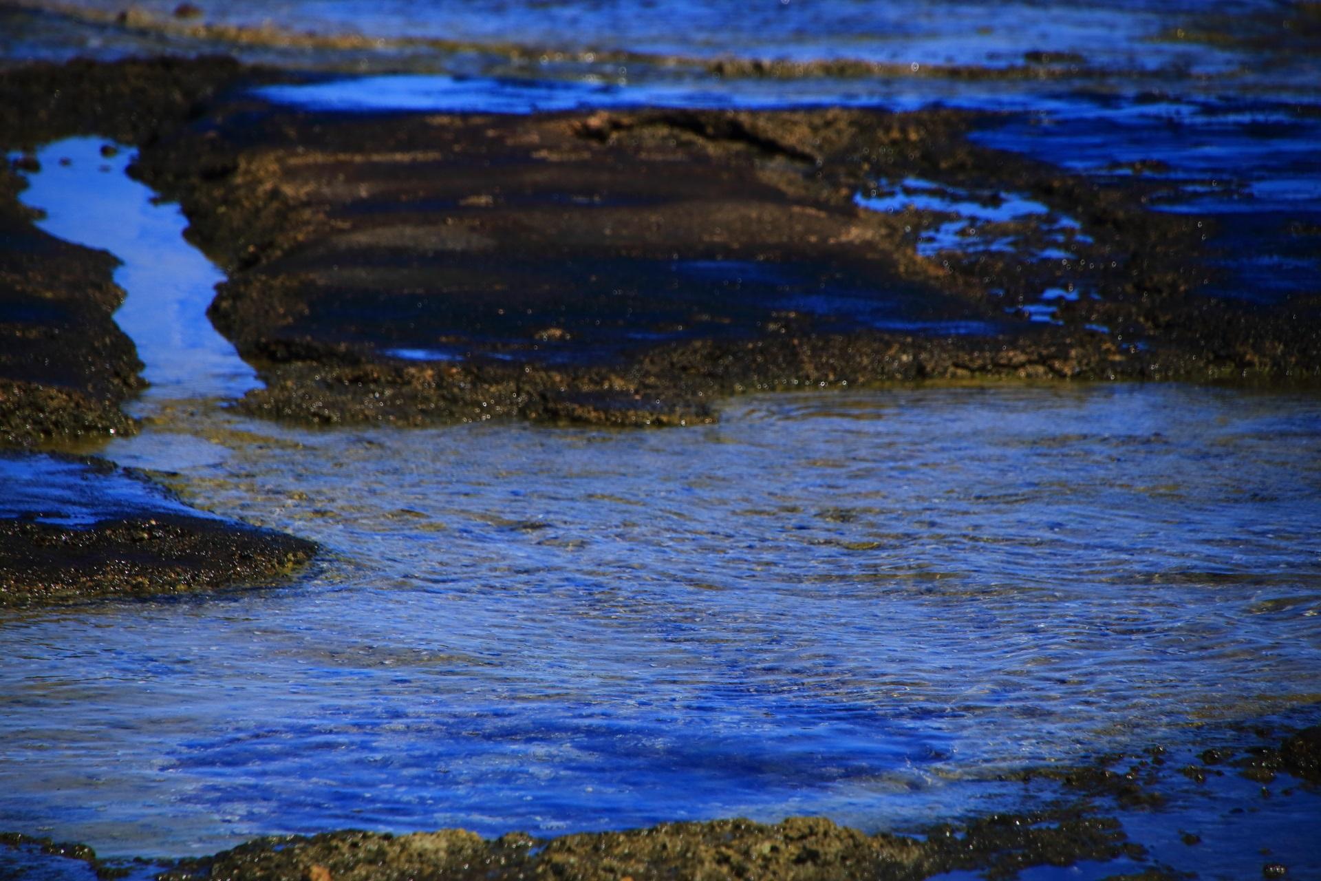 澄んだ美しい海の水が流れて溜まった五色浜の岩場
