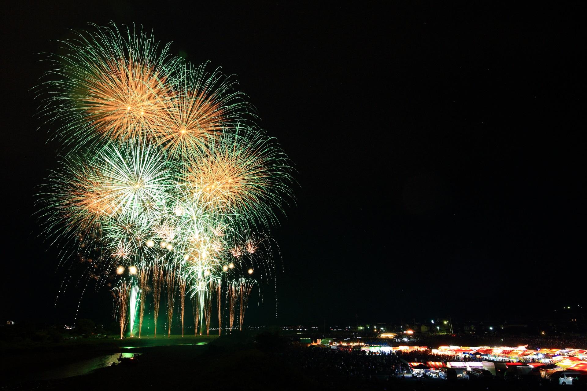 前年より数が増えて約7,000発の花火が打ち上げられる亀岡花火大会