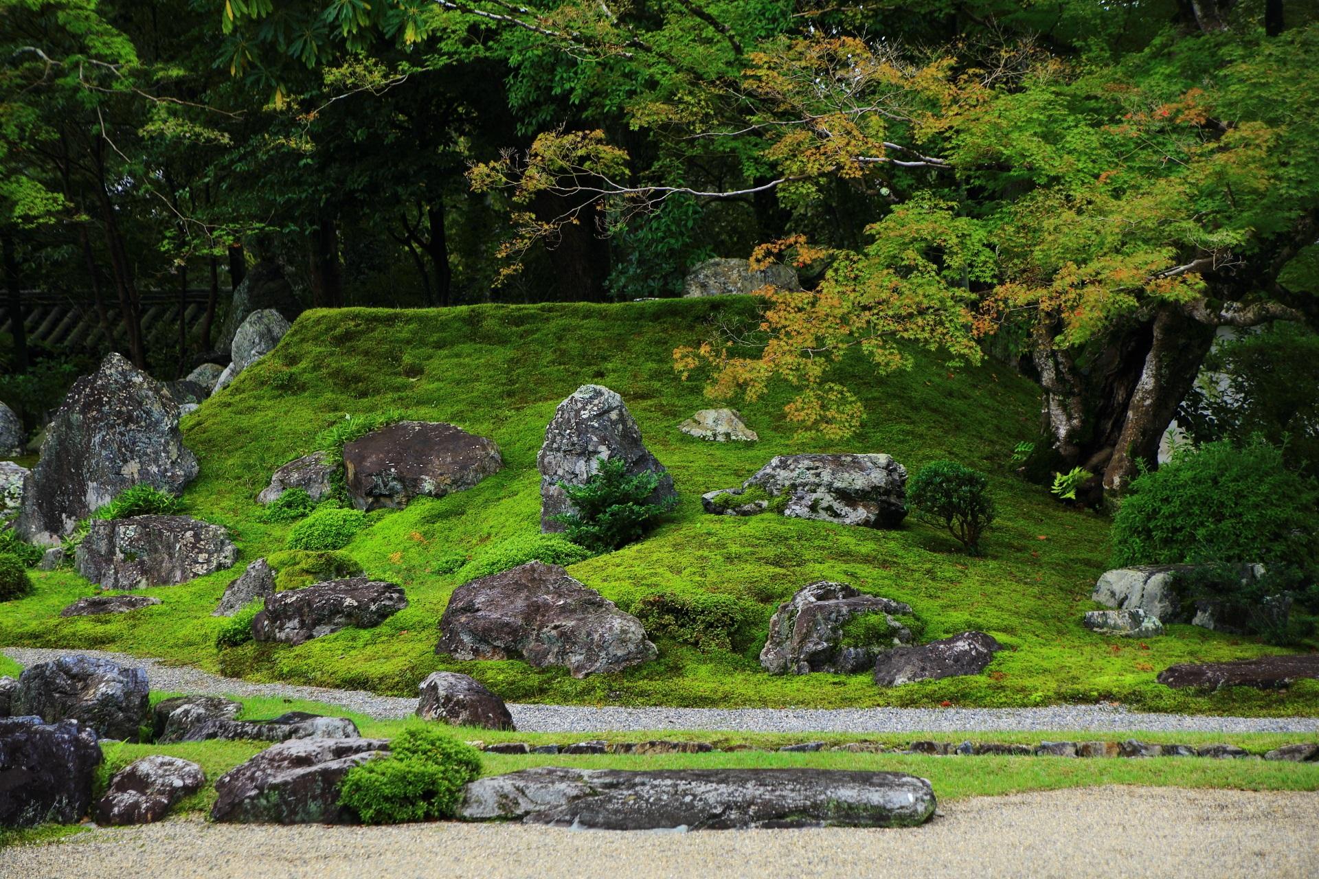 三宝院庭園の唐門横の築山
