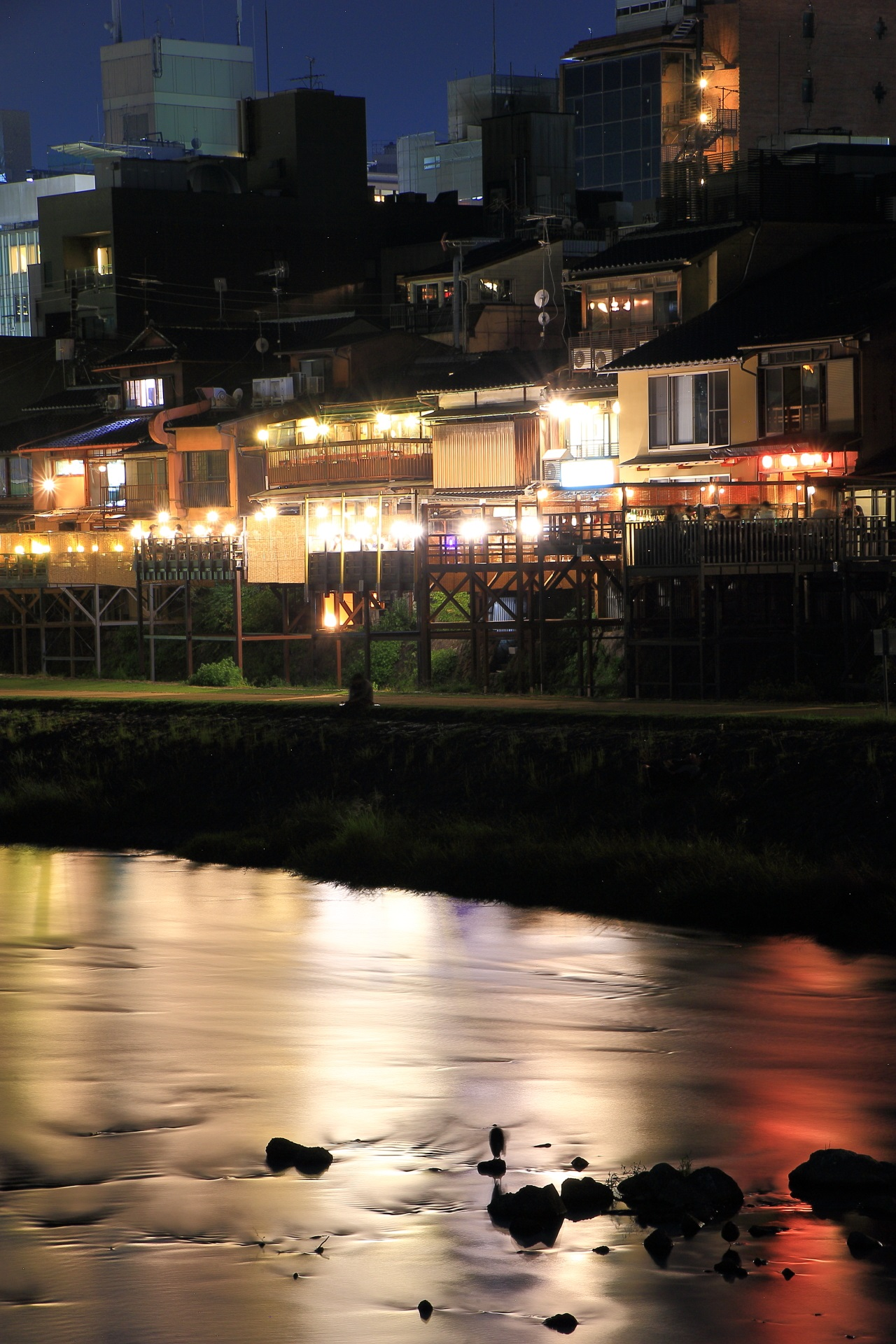 The beautiful summer night view of Kamogawa-River in Kyoto,Japan