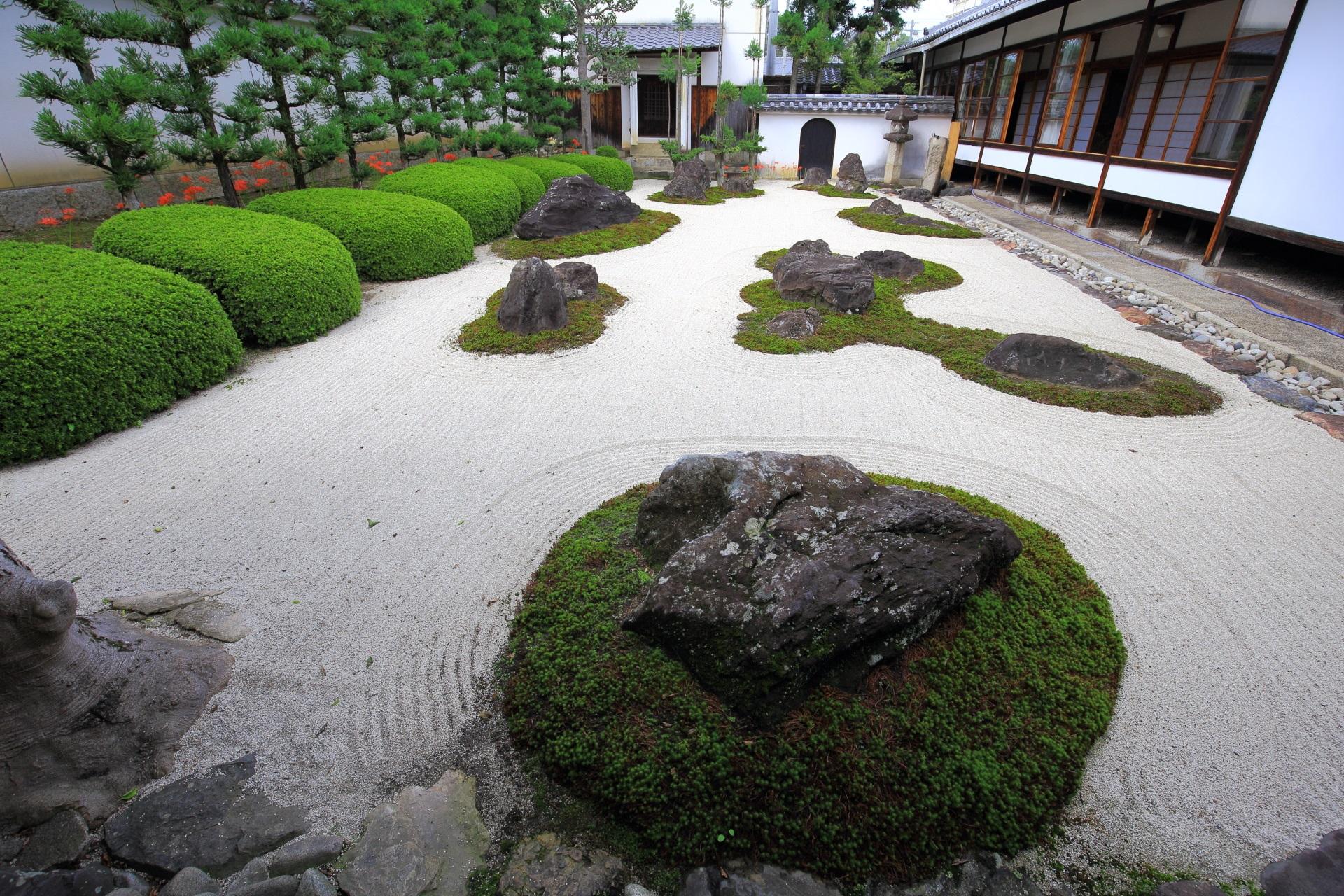 綺麗に手入れされている妙蓮寺の十六羅漢石庭