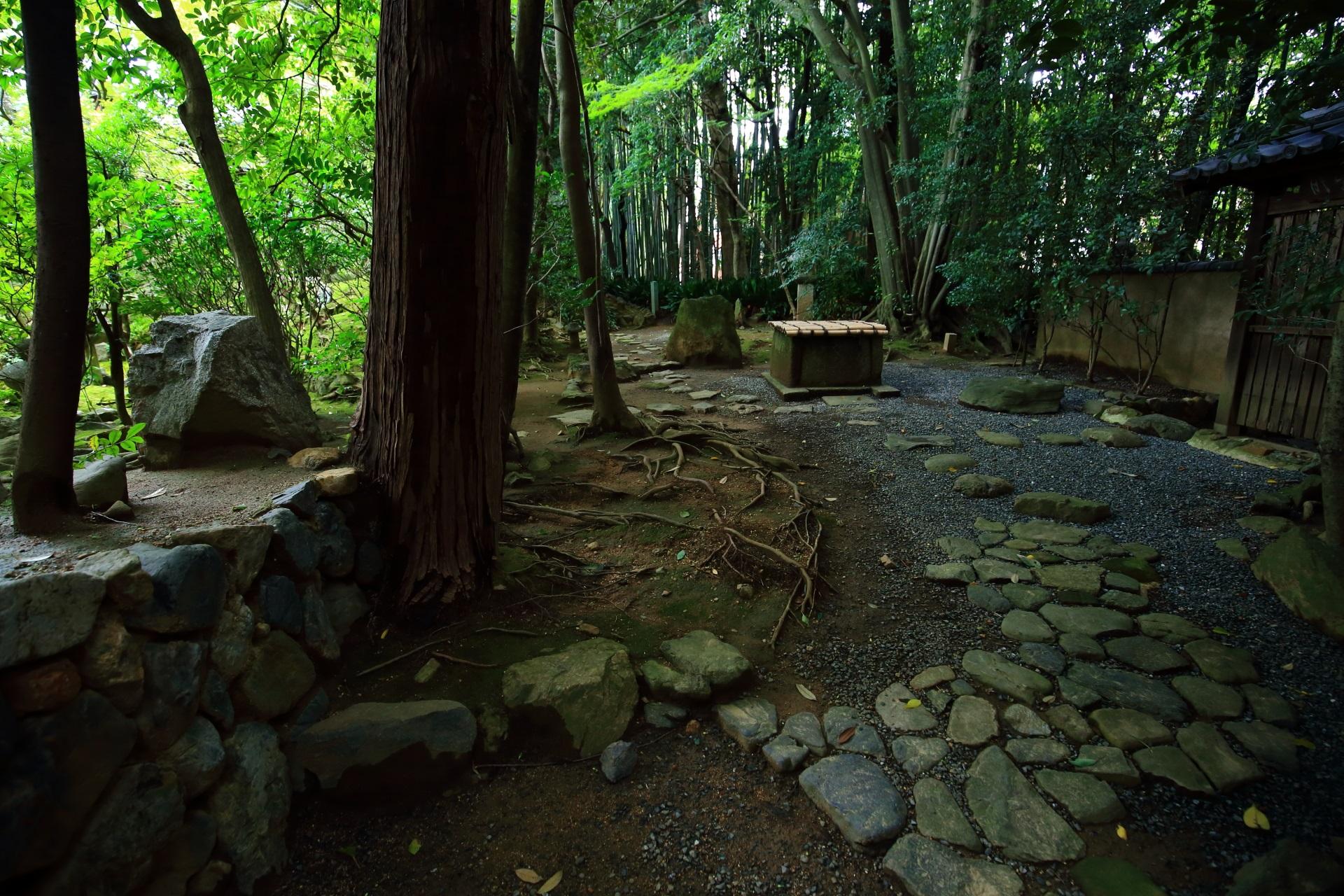 侘の庭につながる井戸と七尊石
