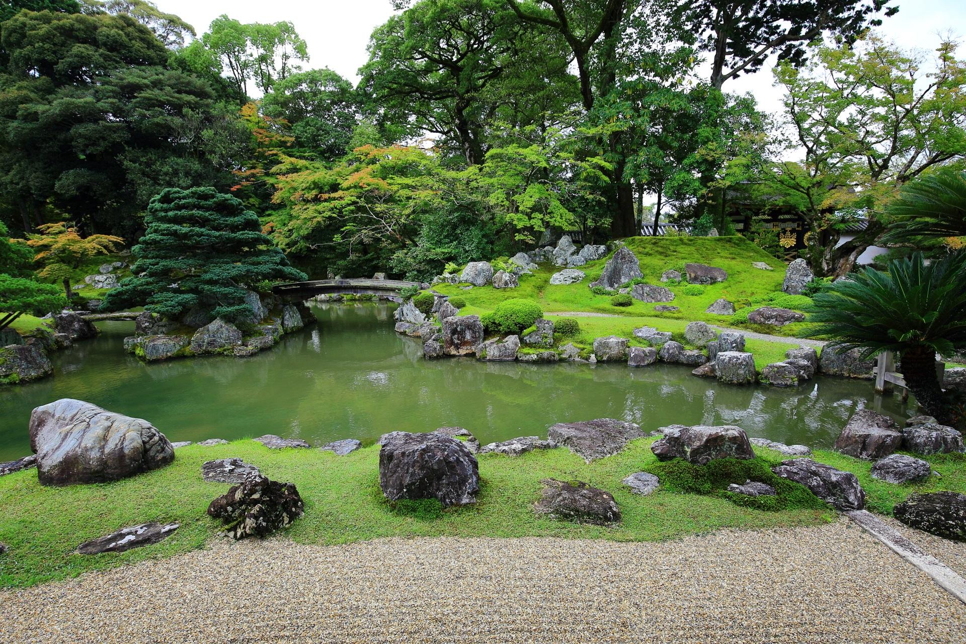 多種多様な木々や植物が植えられた三宝院庭園