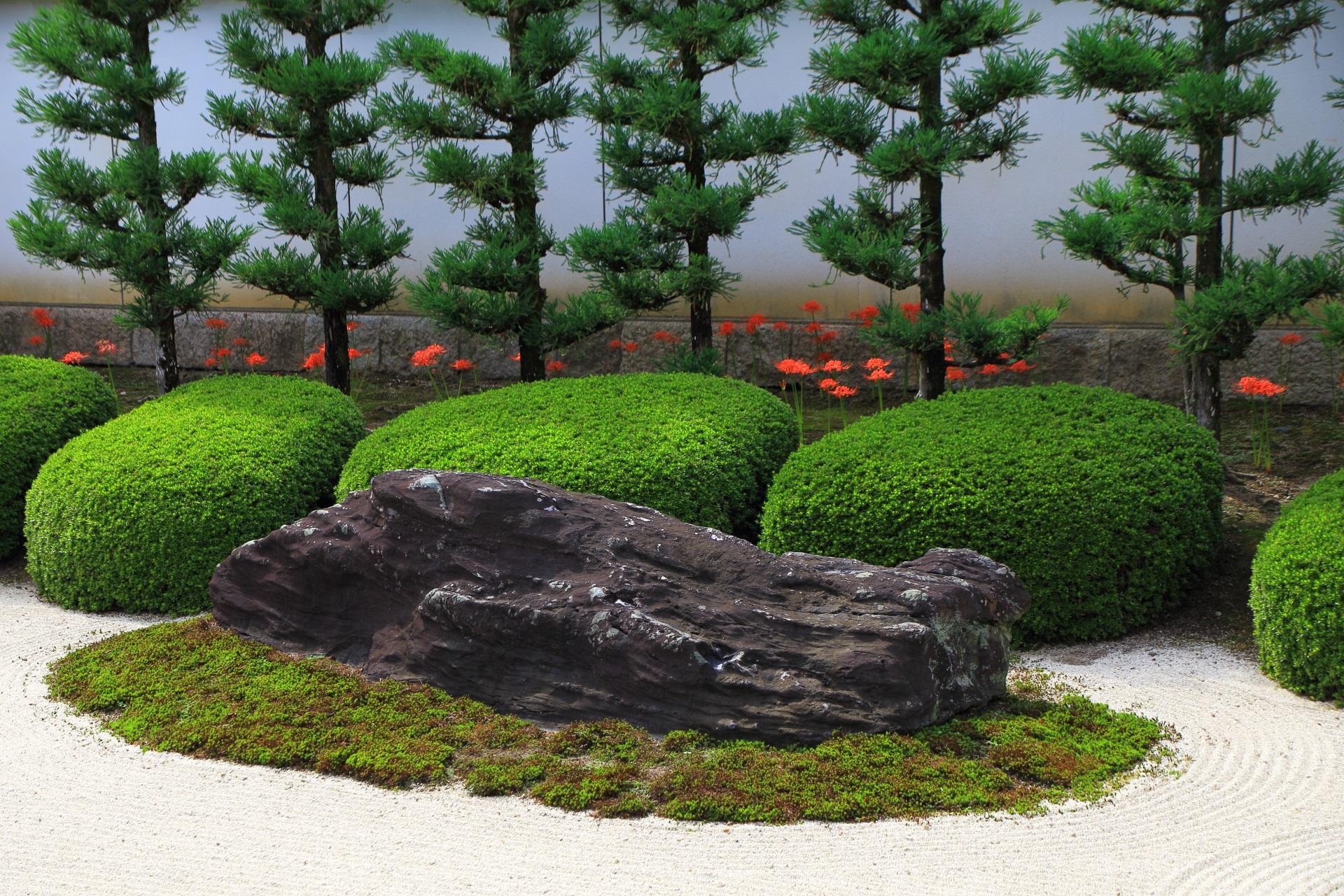 臥牛石と呼ばれる秀吉が伏見城から移した名石と彼岸花