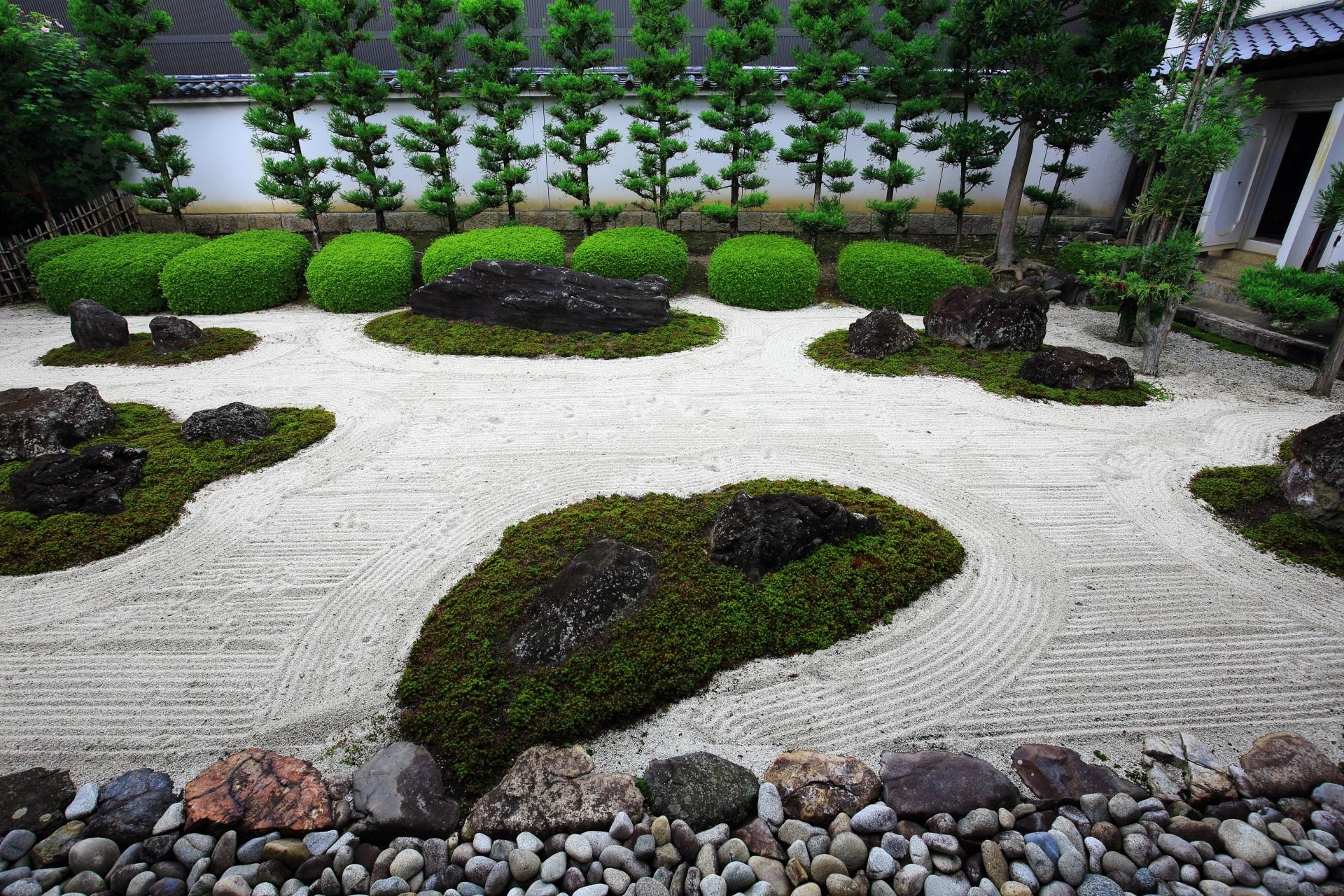 真っ直ぐに伸びた杉の木も素晴らしい十六羅漢石庭