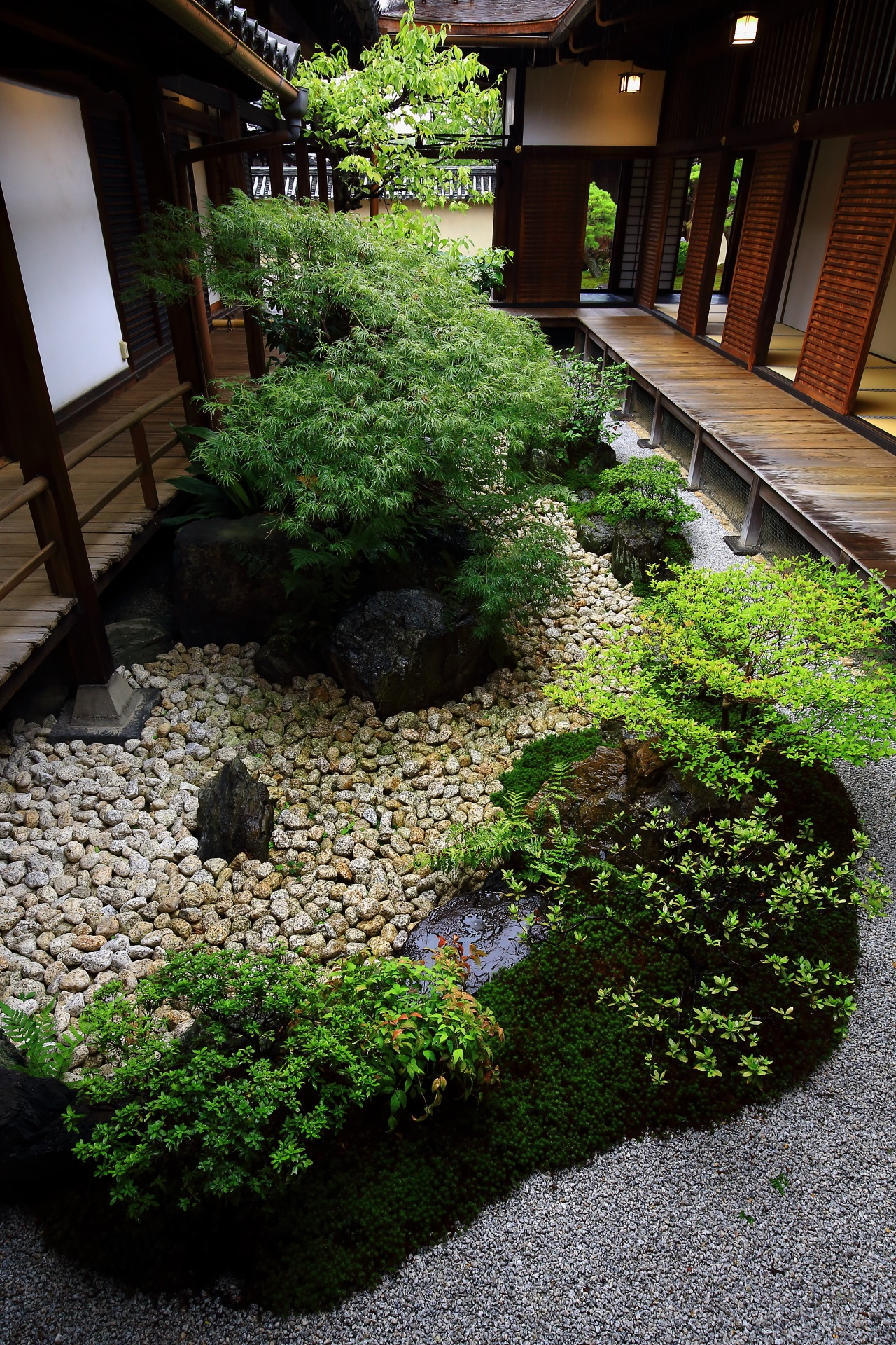 An idyllic garden at Kanchi-in House in To-ji Temple in Kyoto,Japan