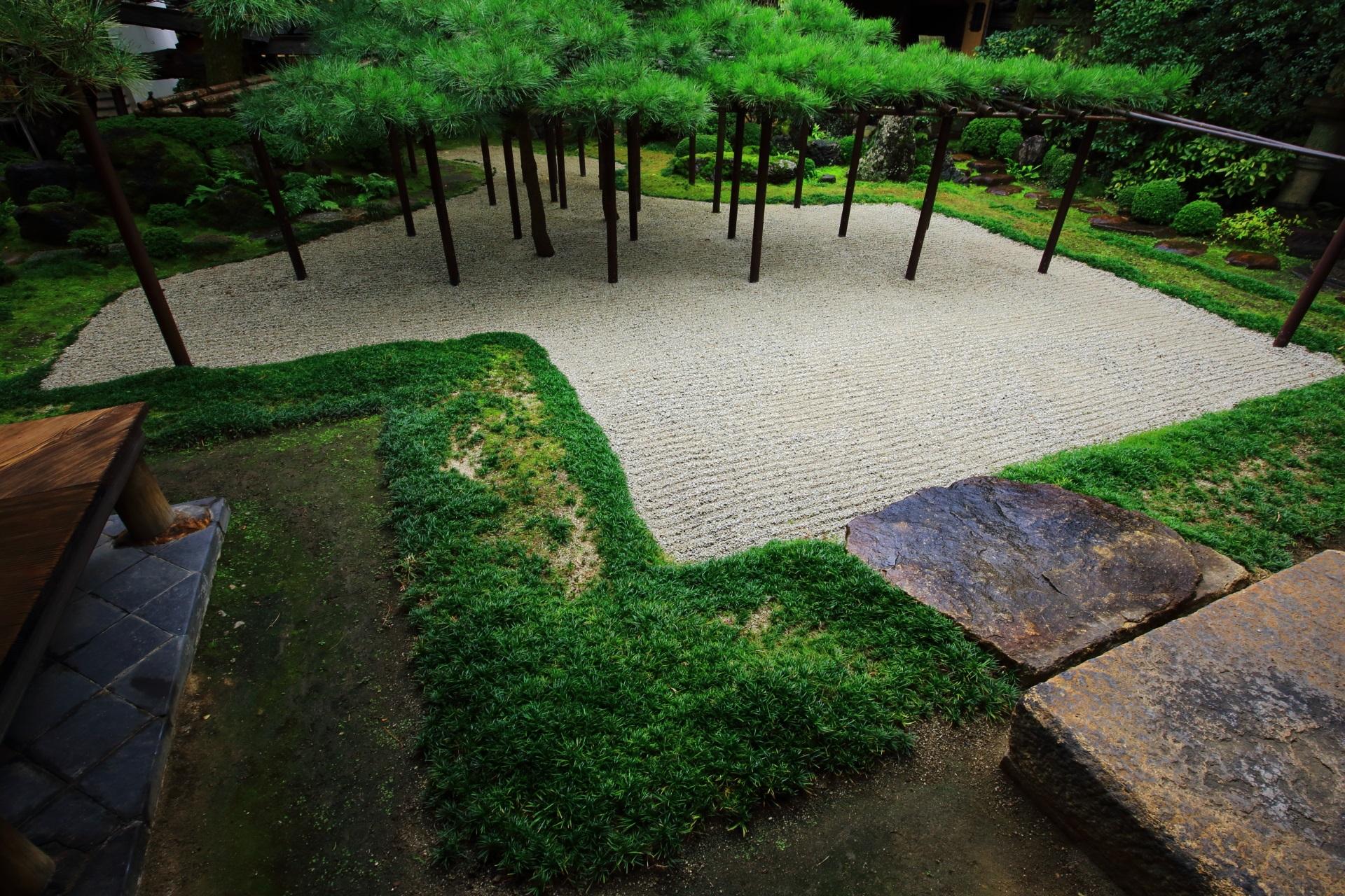 角屋の上品で美しい臥龍松の庭