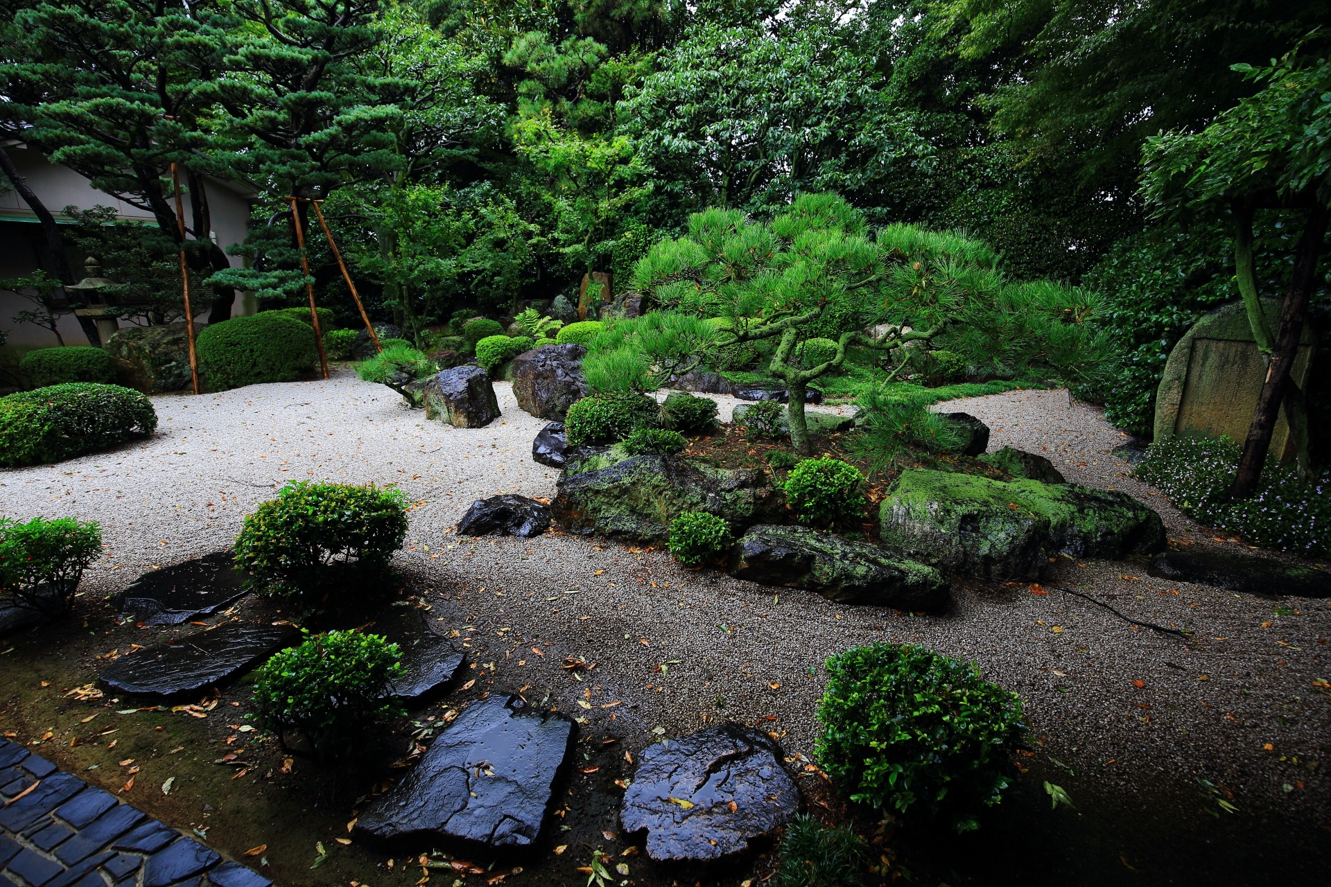 A stone garden at Goko-no-miya Shrine in Kyoto,Japan