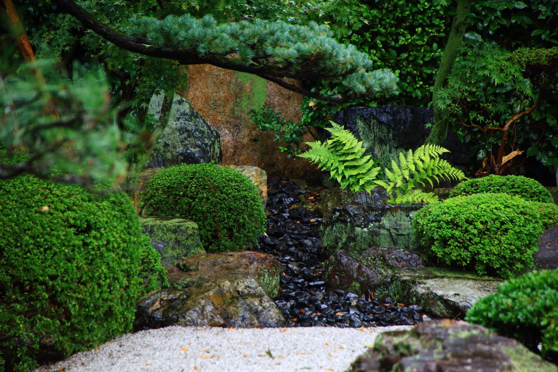 御香宮神社の庭園の滝
