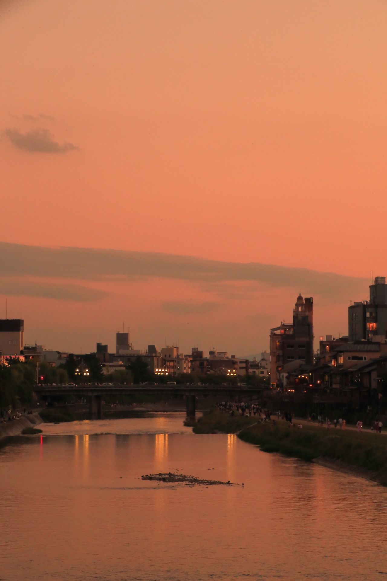 Fantastic sunset of Kamogawa-River in Kyoto,Japan