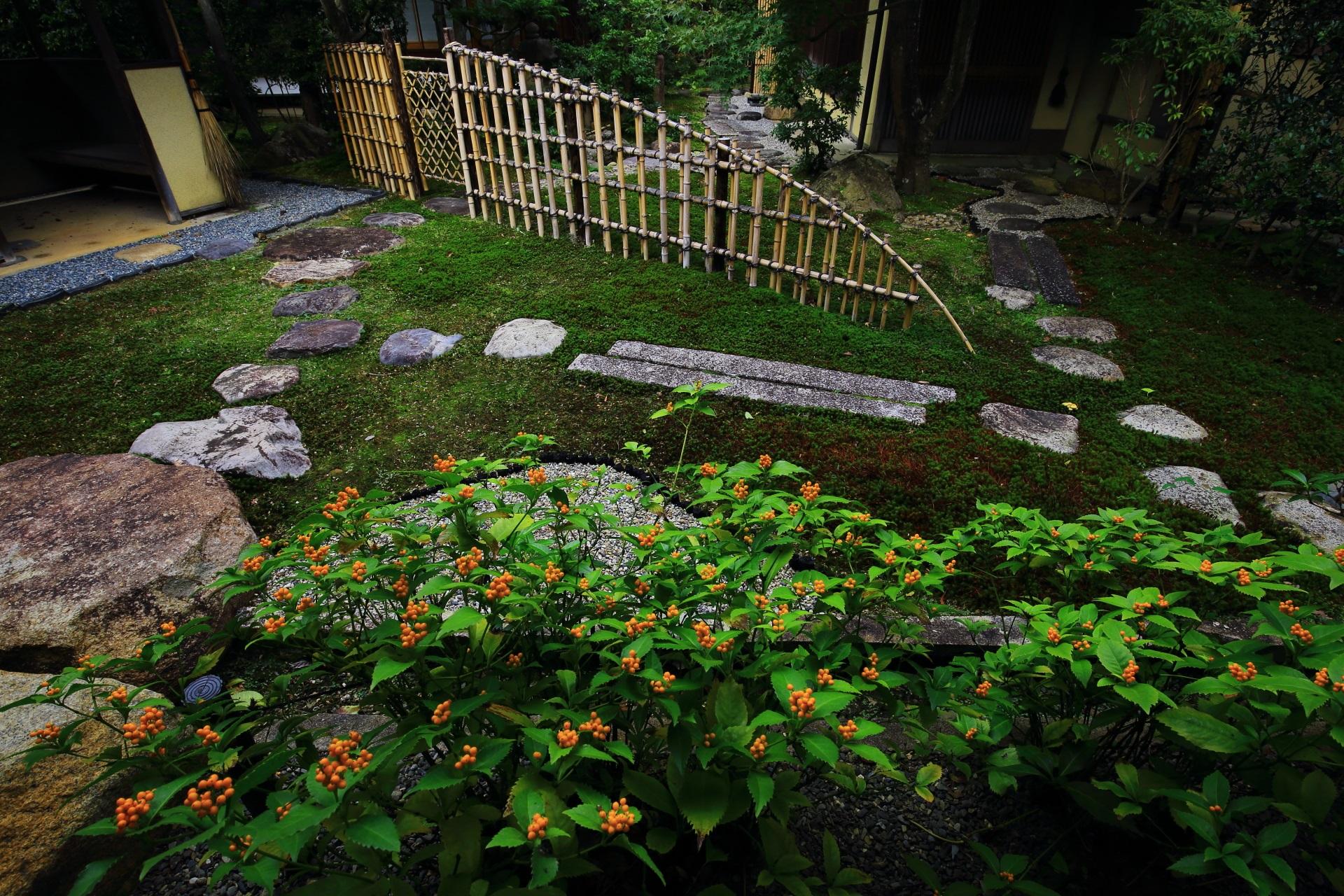 飛び石や竹垣が配された真正極楽寺の露地庭
