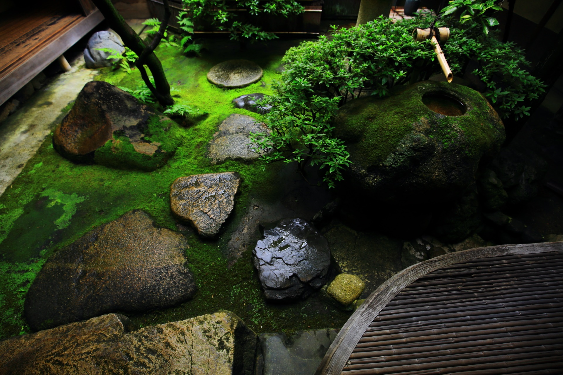 趣きある手水鉢のある角屋の中庭