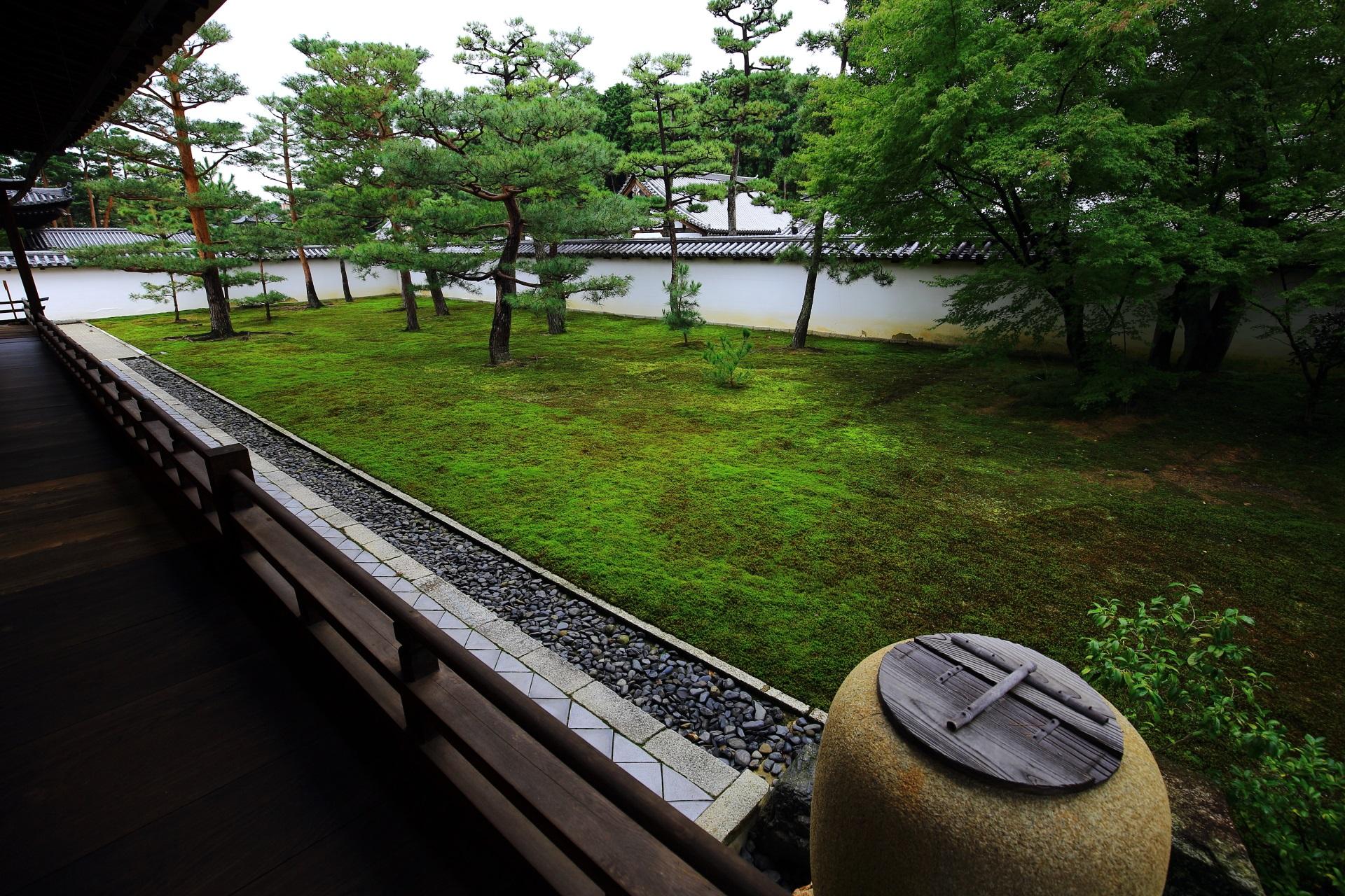 相国寺の方丈西側にある苔の庭園