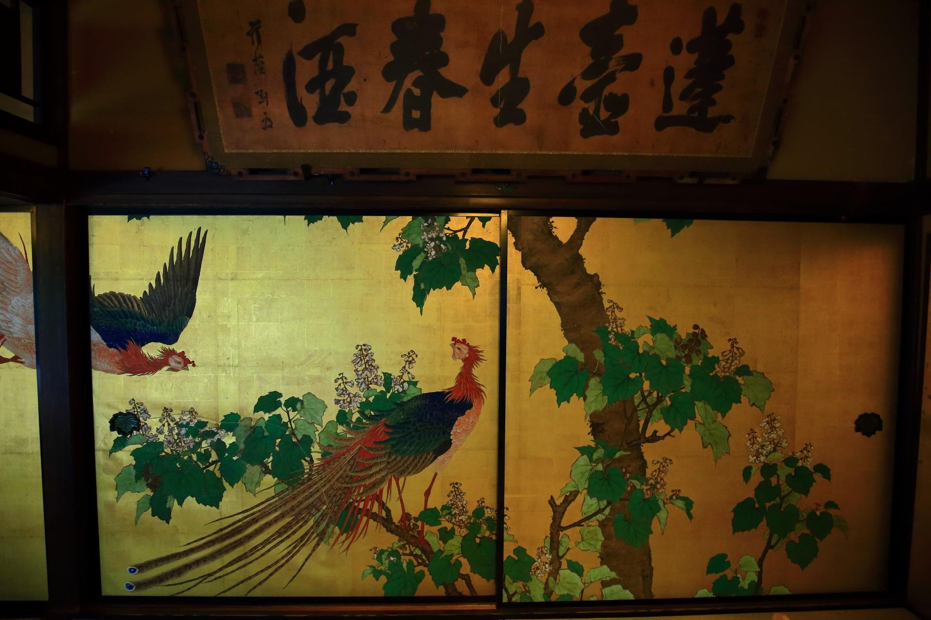 角屋の大座敷「松の間」の襖絵