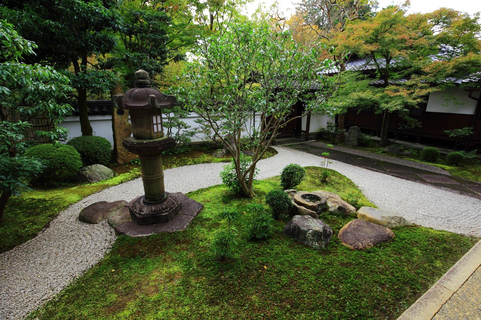真正極楽寺の白砂と苔の書院南側の庭園