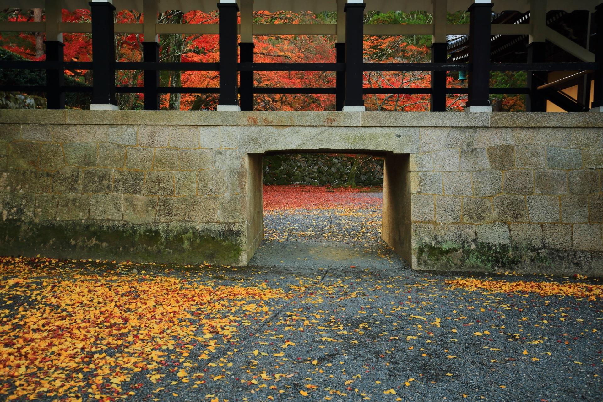 南禅寺の法堂と方丈をつなぐ渡廊下と紅葉