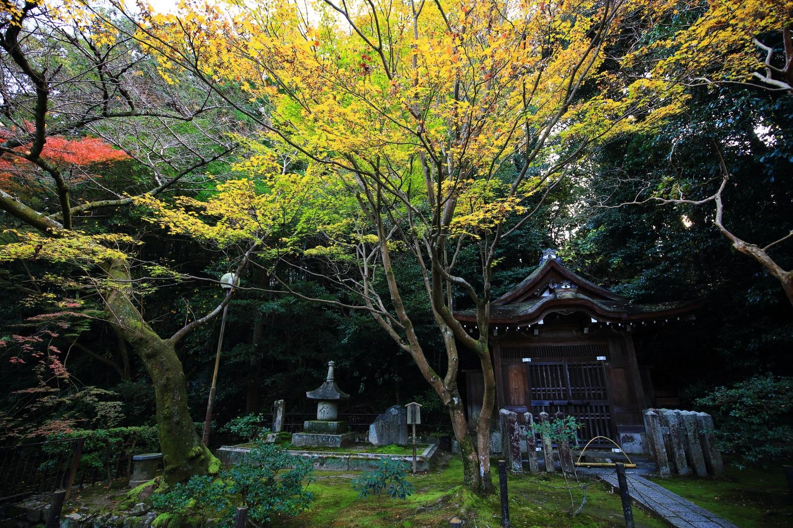 泉涌寺の寺名の由来となった泉涌水屋形と淡い紅葉