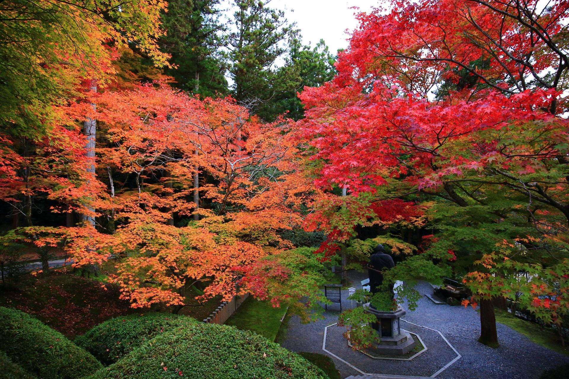 上から眺めた子護大師像と鮮やかな色づきの紅葉