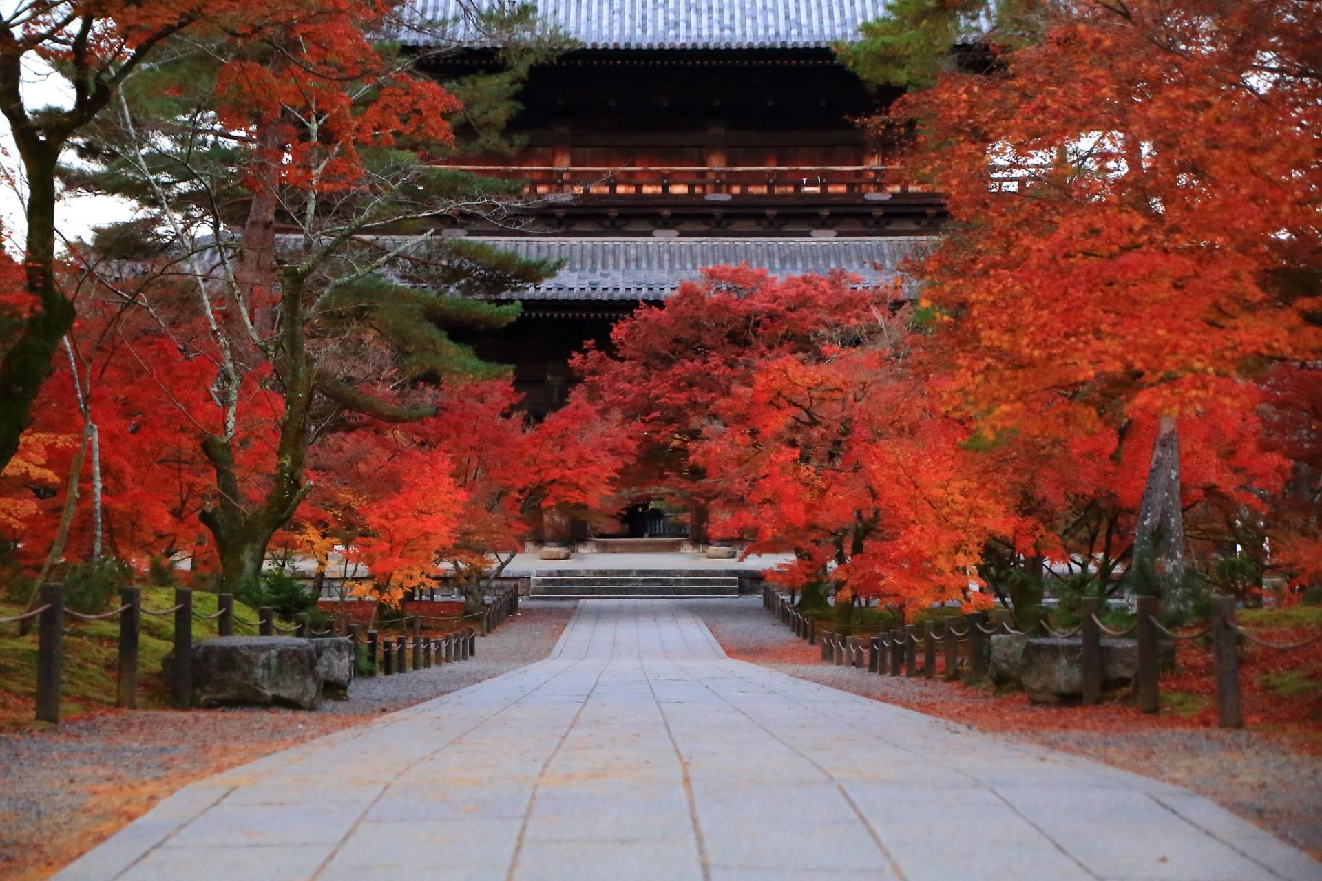 南禅寺の三門を彩る溢れる紅葉