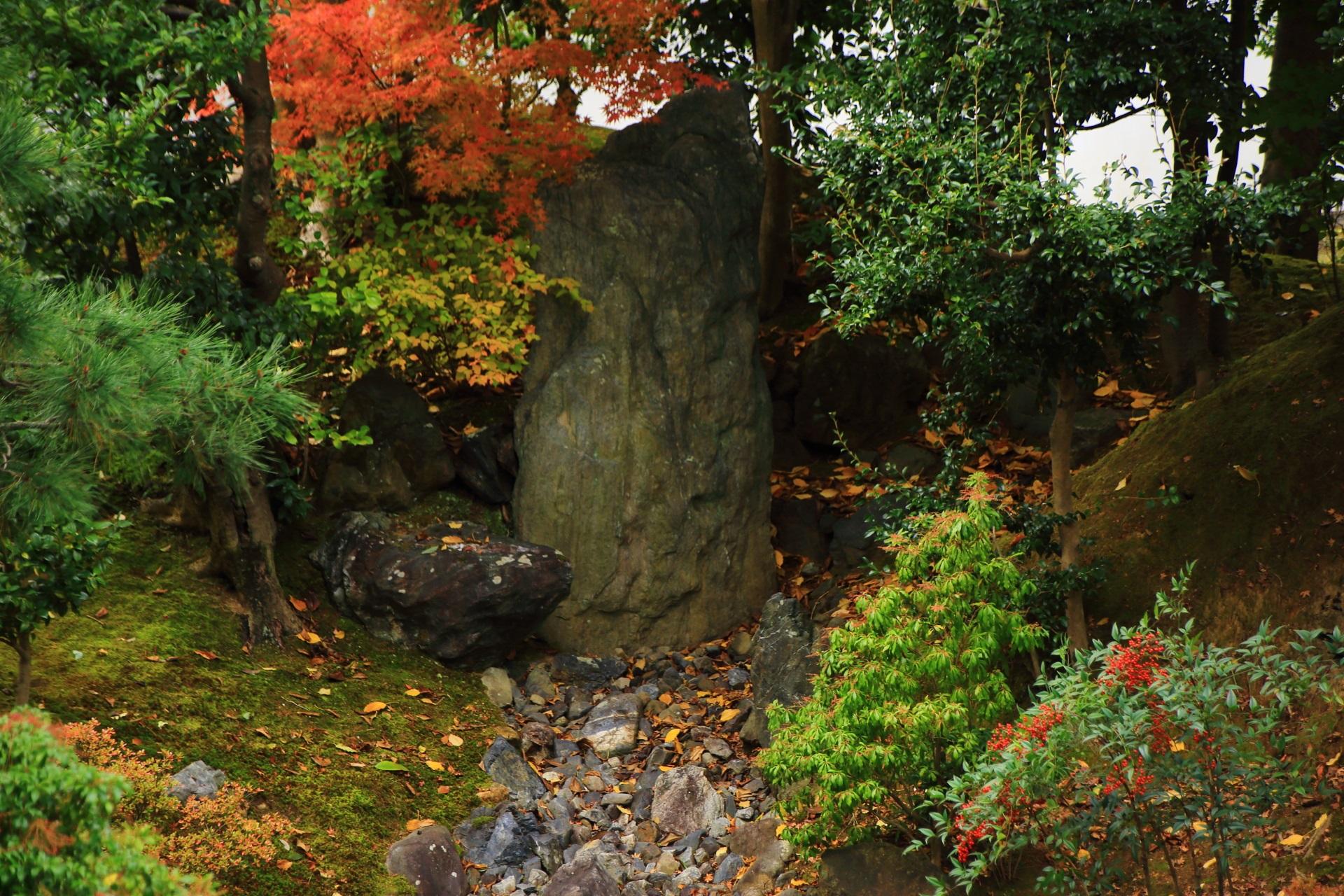 紅葉や南天の赤い実が彩りをそえる枯流れ上流の滝の岩