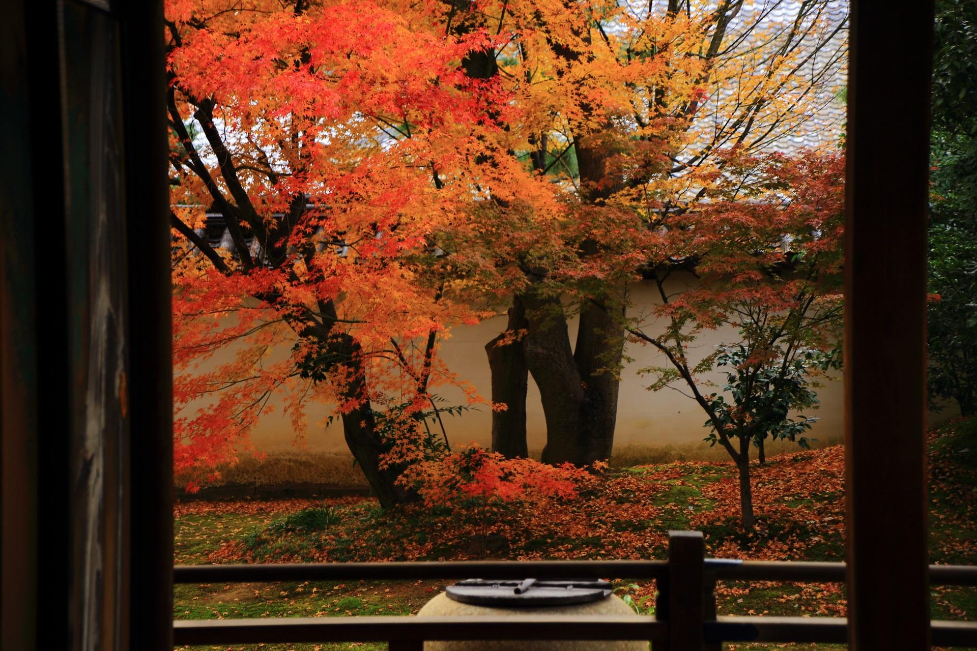 裏方丈庭園前から眺めた方丈西庭の秋色の紅葉