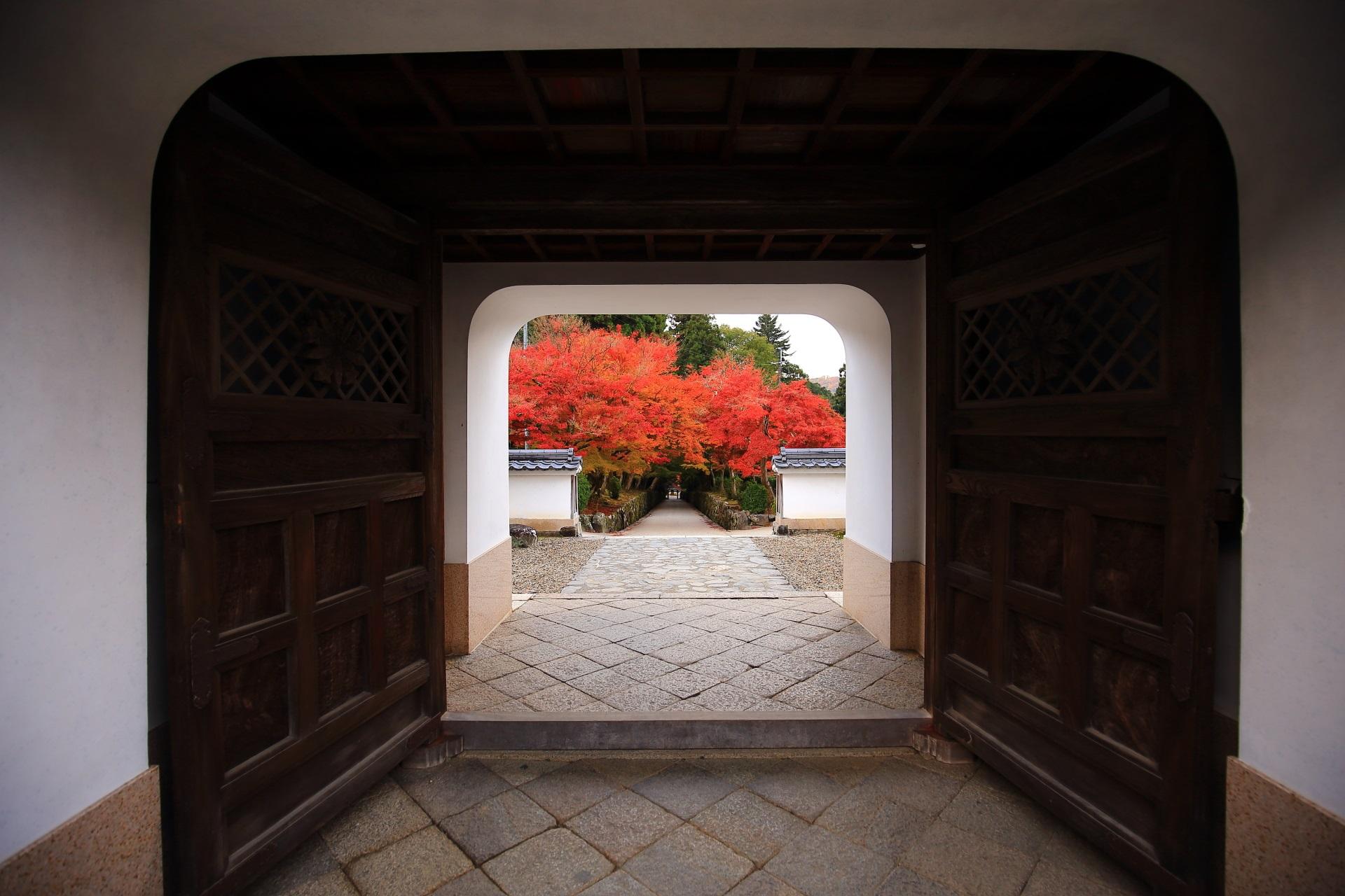 独特の山門の先に続く琴坂の鮮やかな紅葉