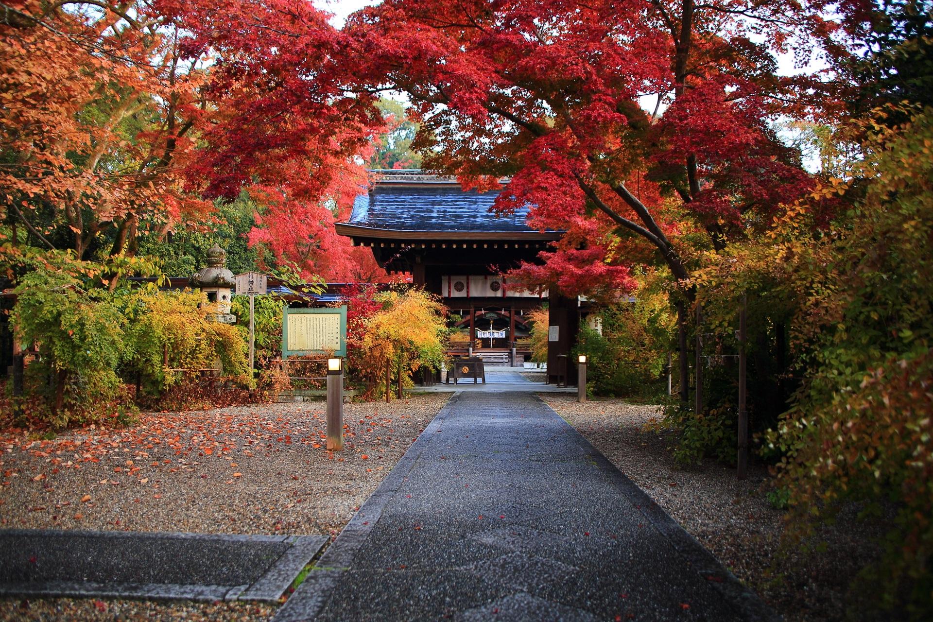 梨木神社の神門付近の紅葉や色づいた萩