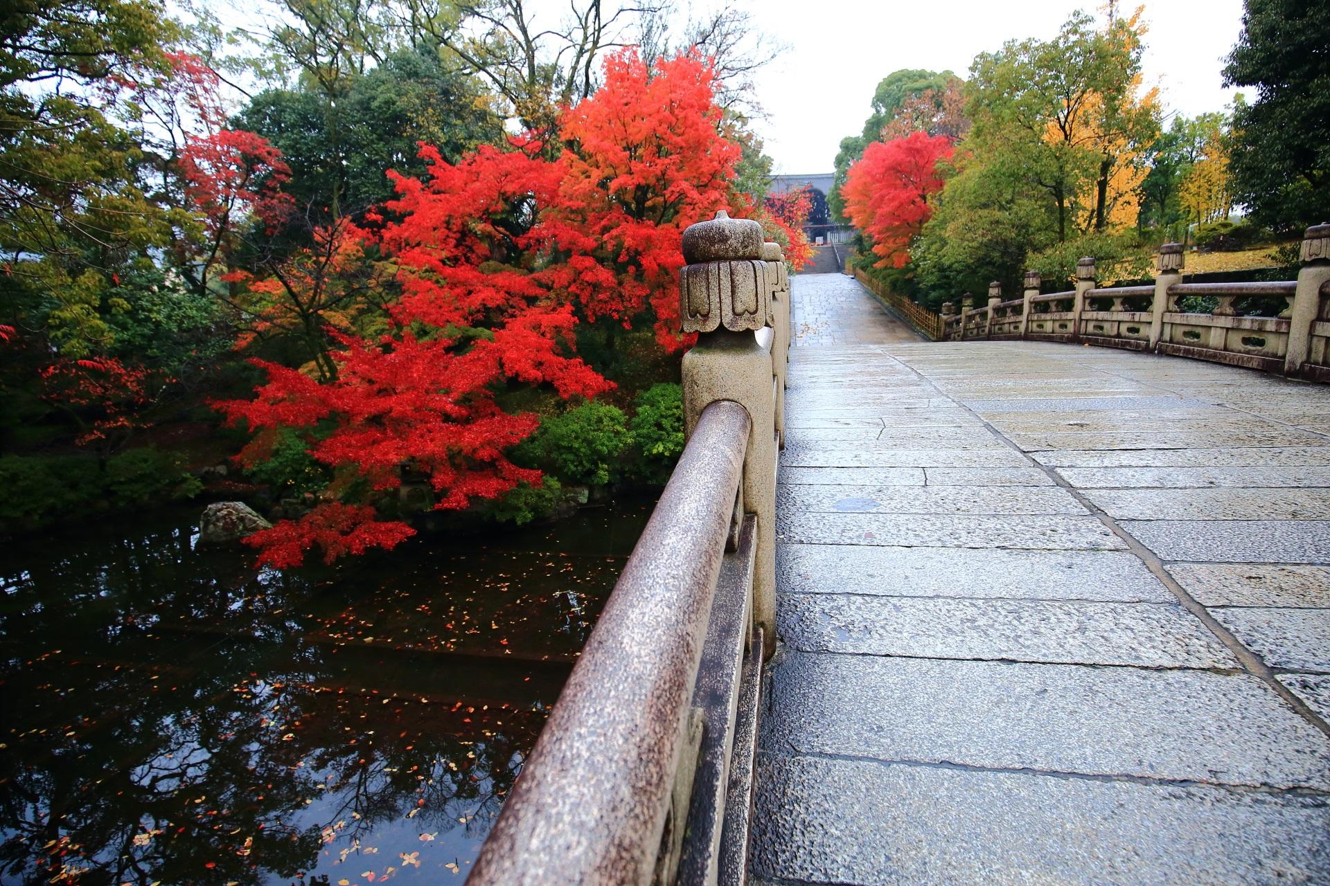 誰もいない大谷本廟の紅葉と円通橋